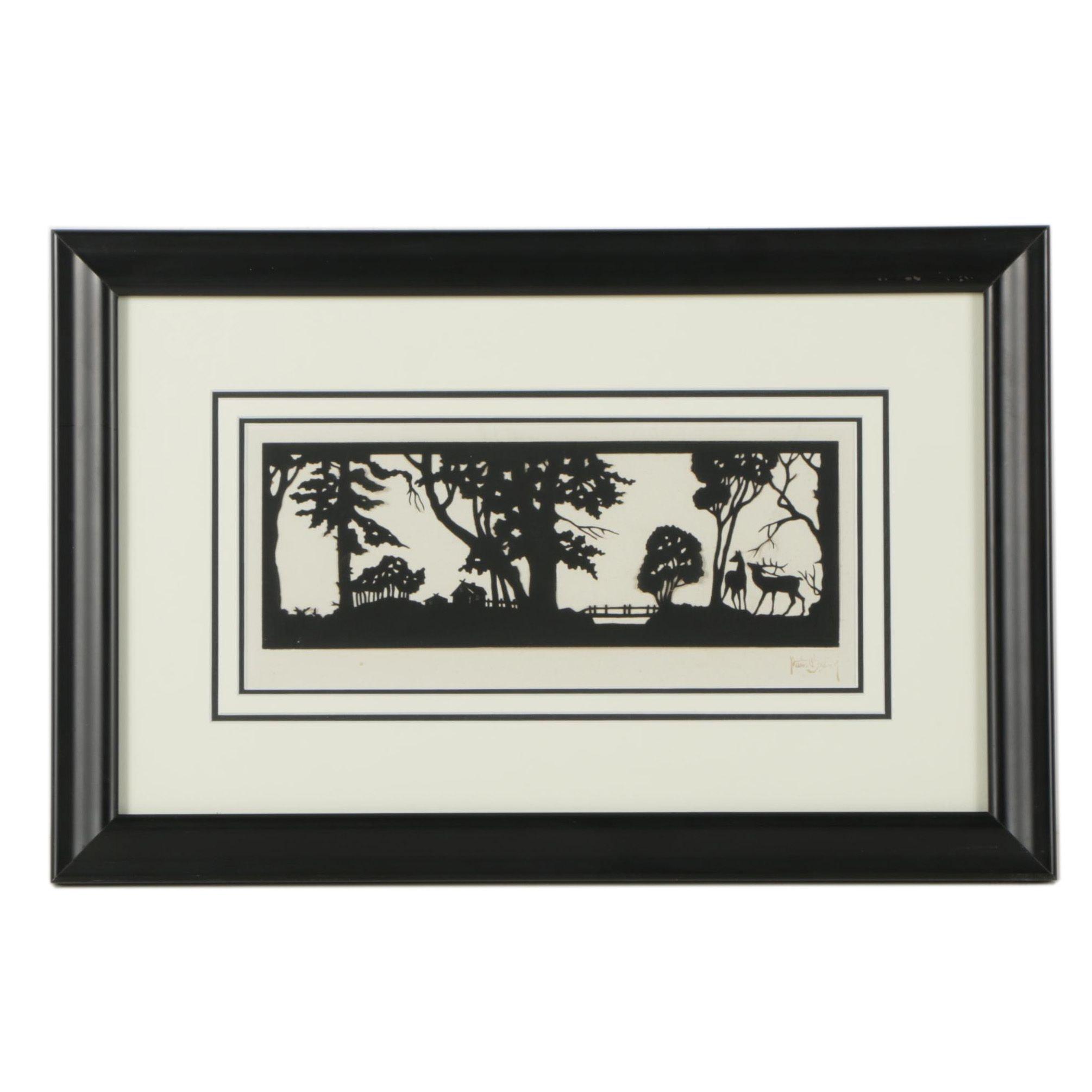 Scherenschnitte Cut Paper Art of Landscape Scene with Deer