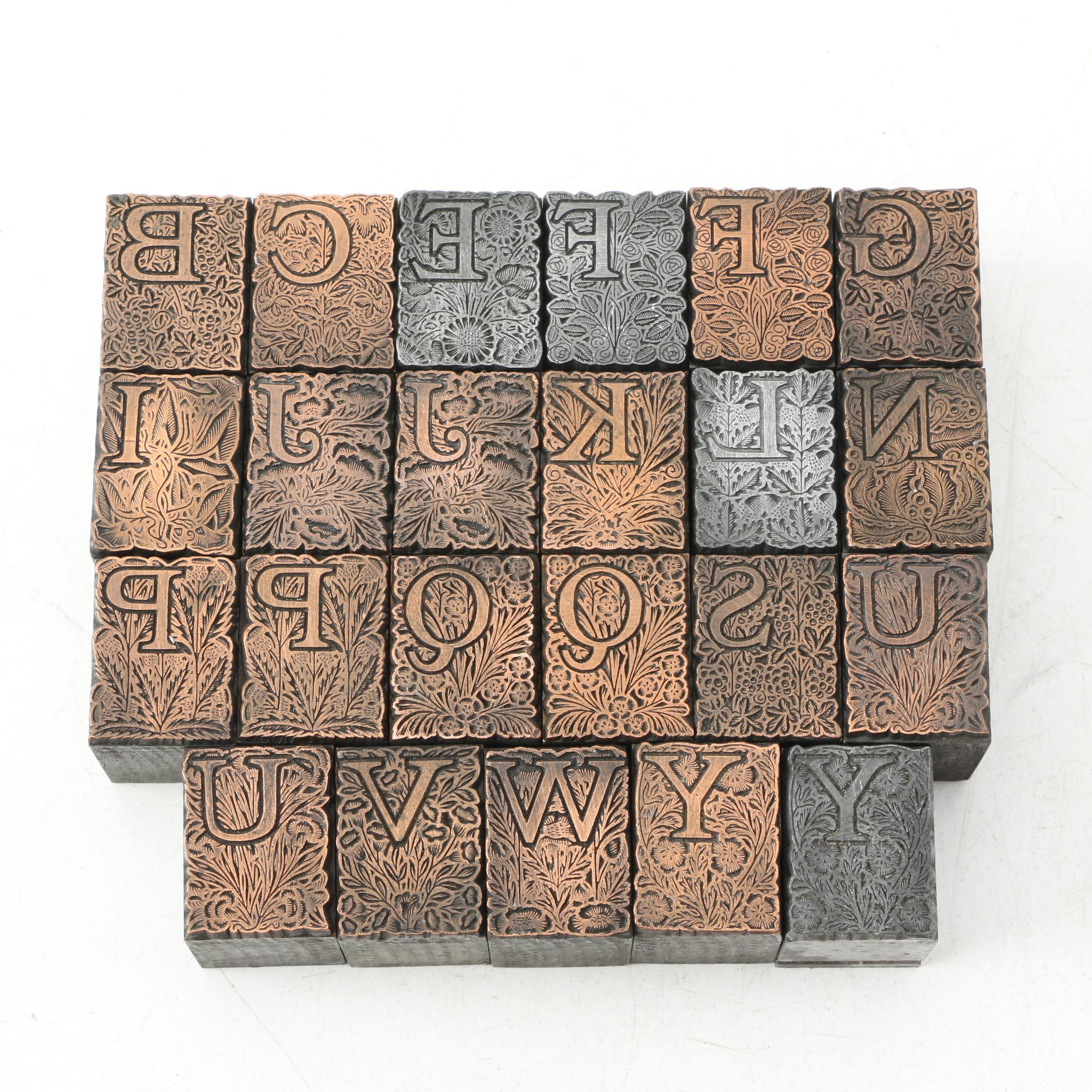 Antique Letterpress Drop Cap Printing Blocks