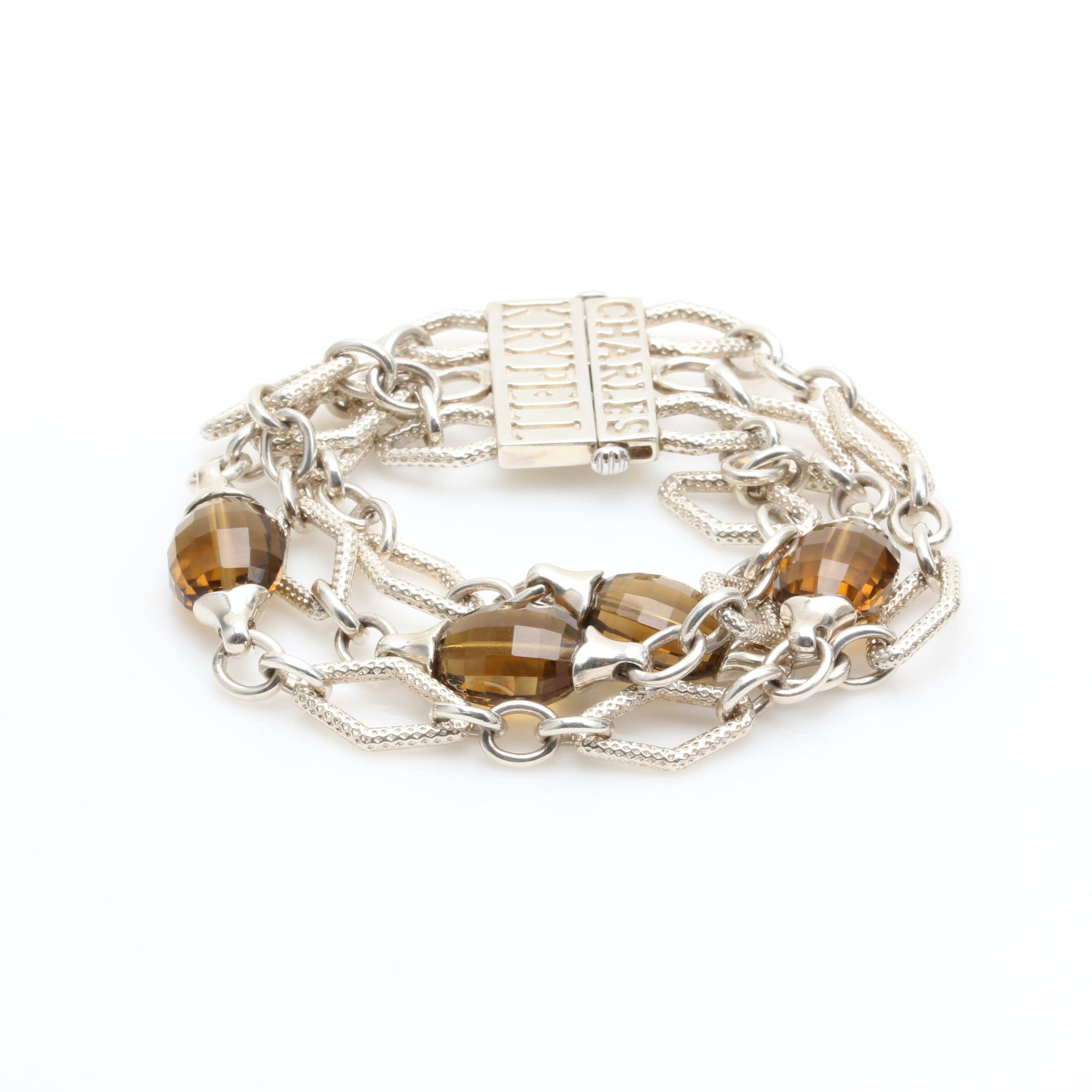 Charles Krypell Sterling Silver Smoky Quartz Bracelet with 14K White Gold Accent