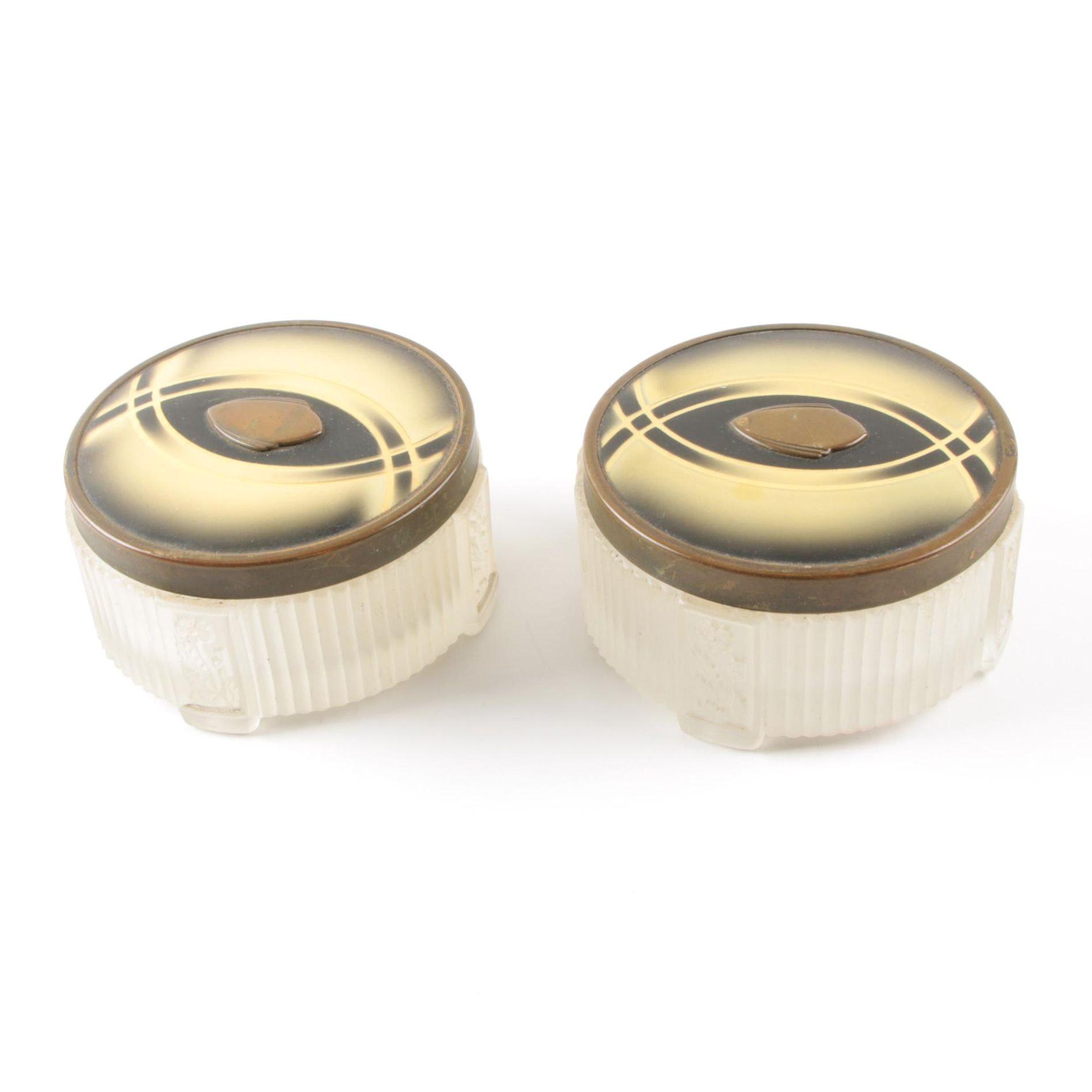 Decorative Art Deco Style Glass Vanity Jars with Metal Lids