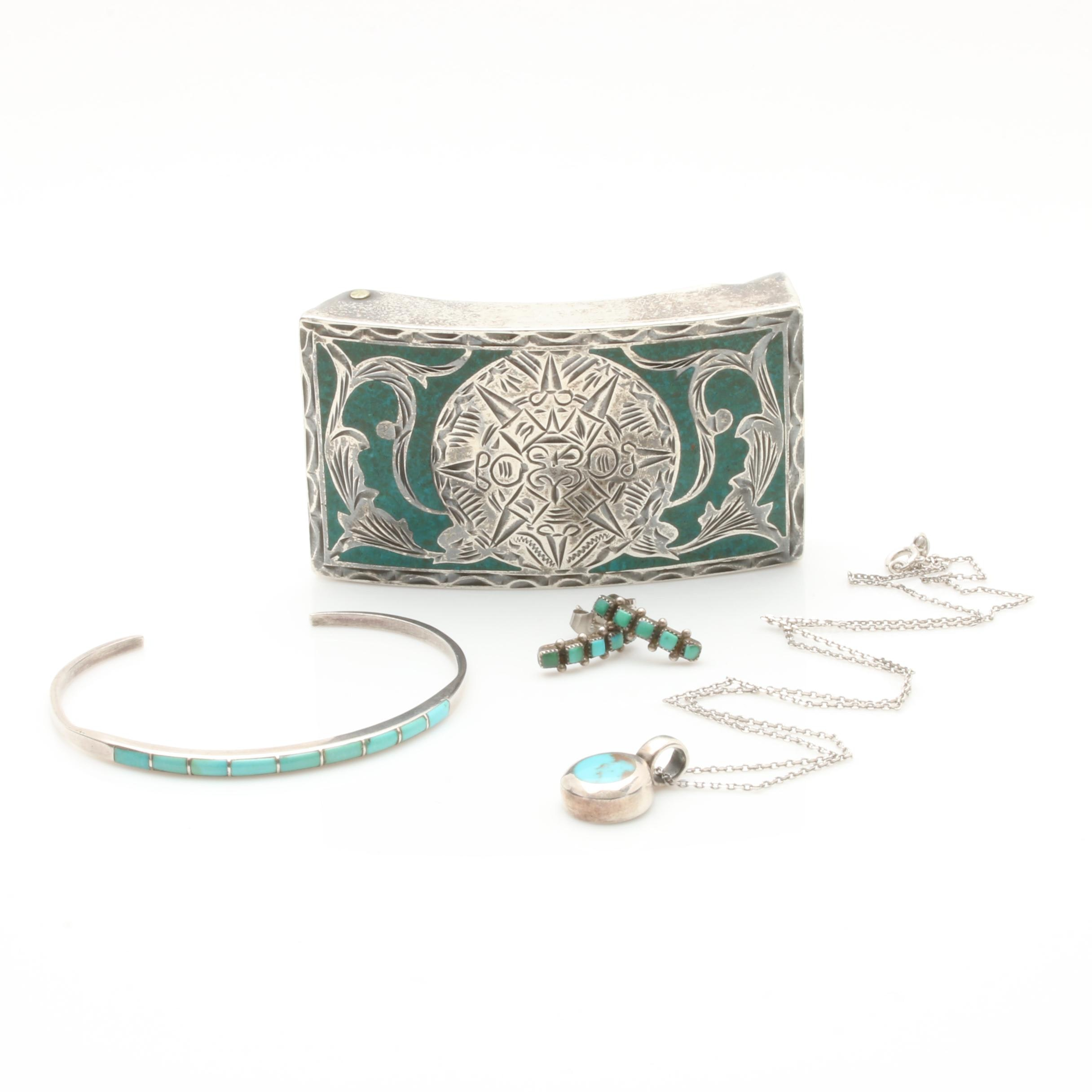 Southwestern Style Sterling Silver Turquoise Jewelry with Jalisco Belt Buckle