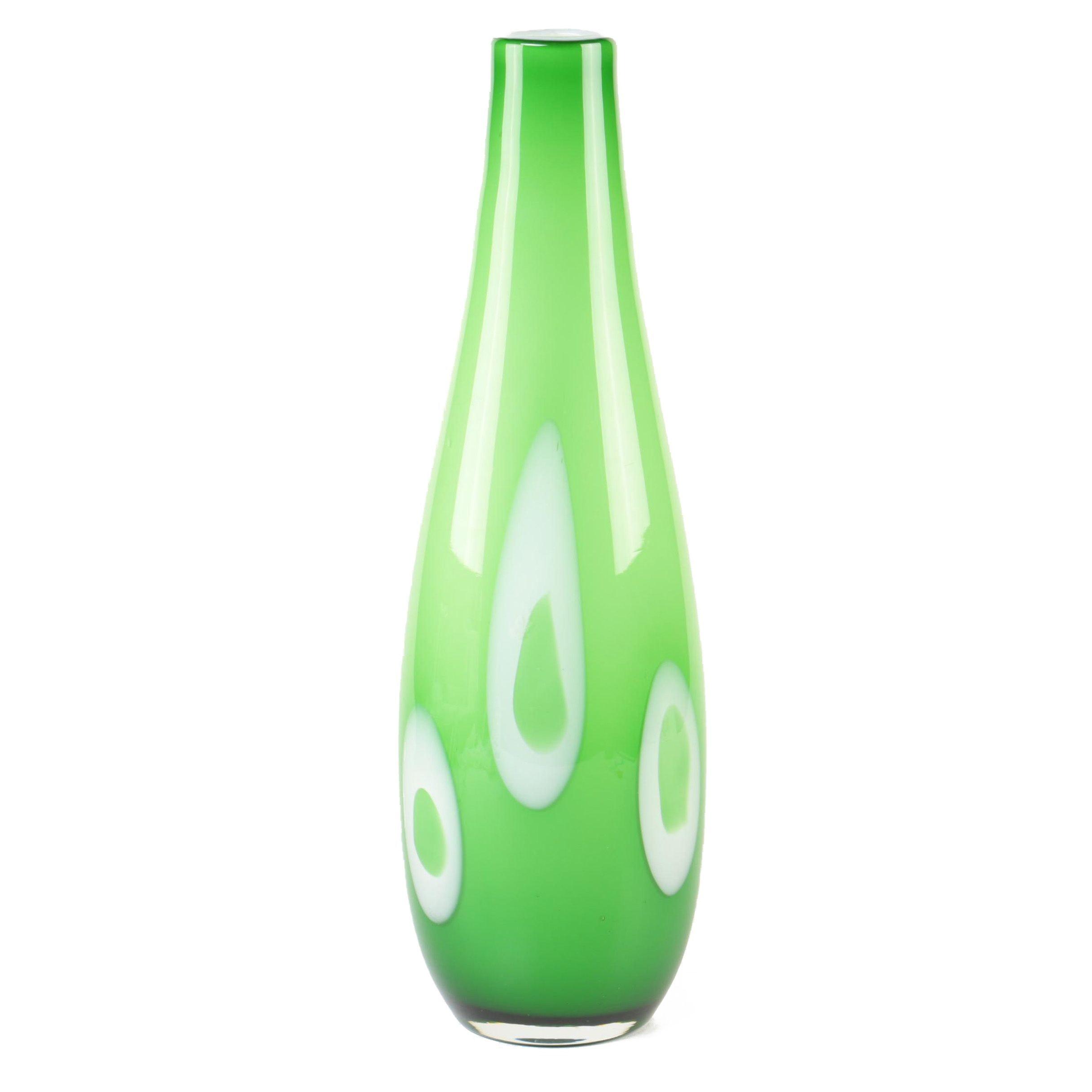 Green Art Glass Bud Vase