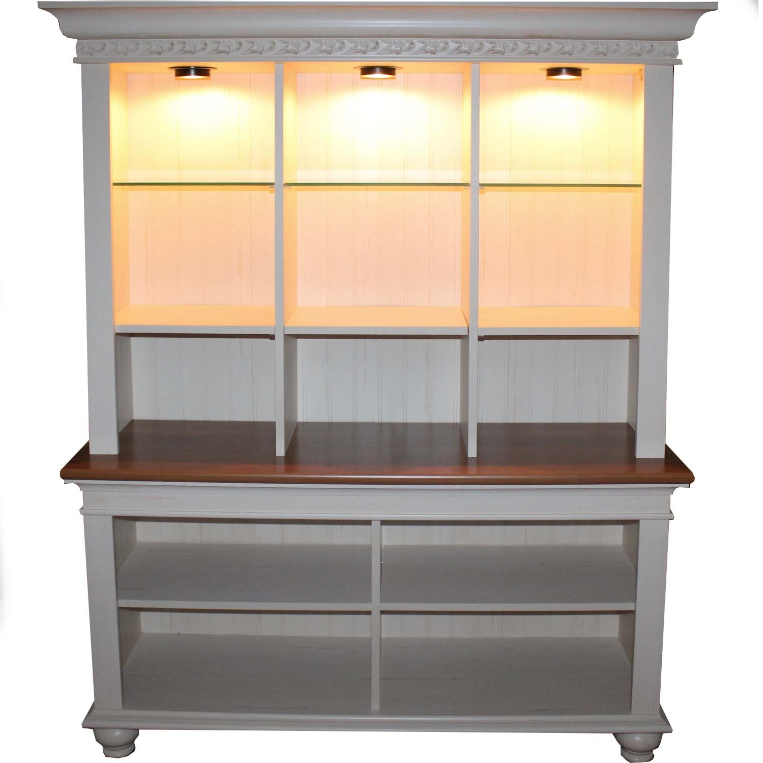 French Country Style Wood Lit Display Cabinet