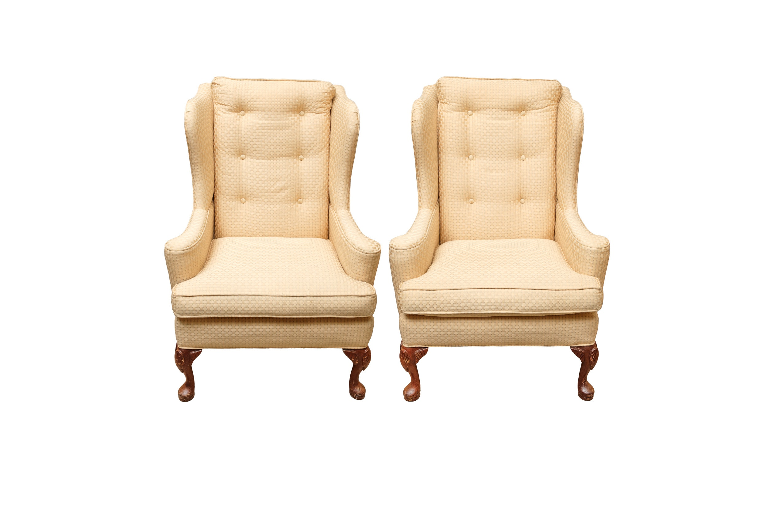 Pair of Queen Anne Style Upholstered Wingback Chairs