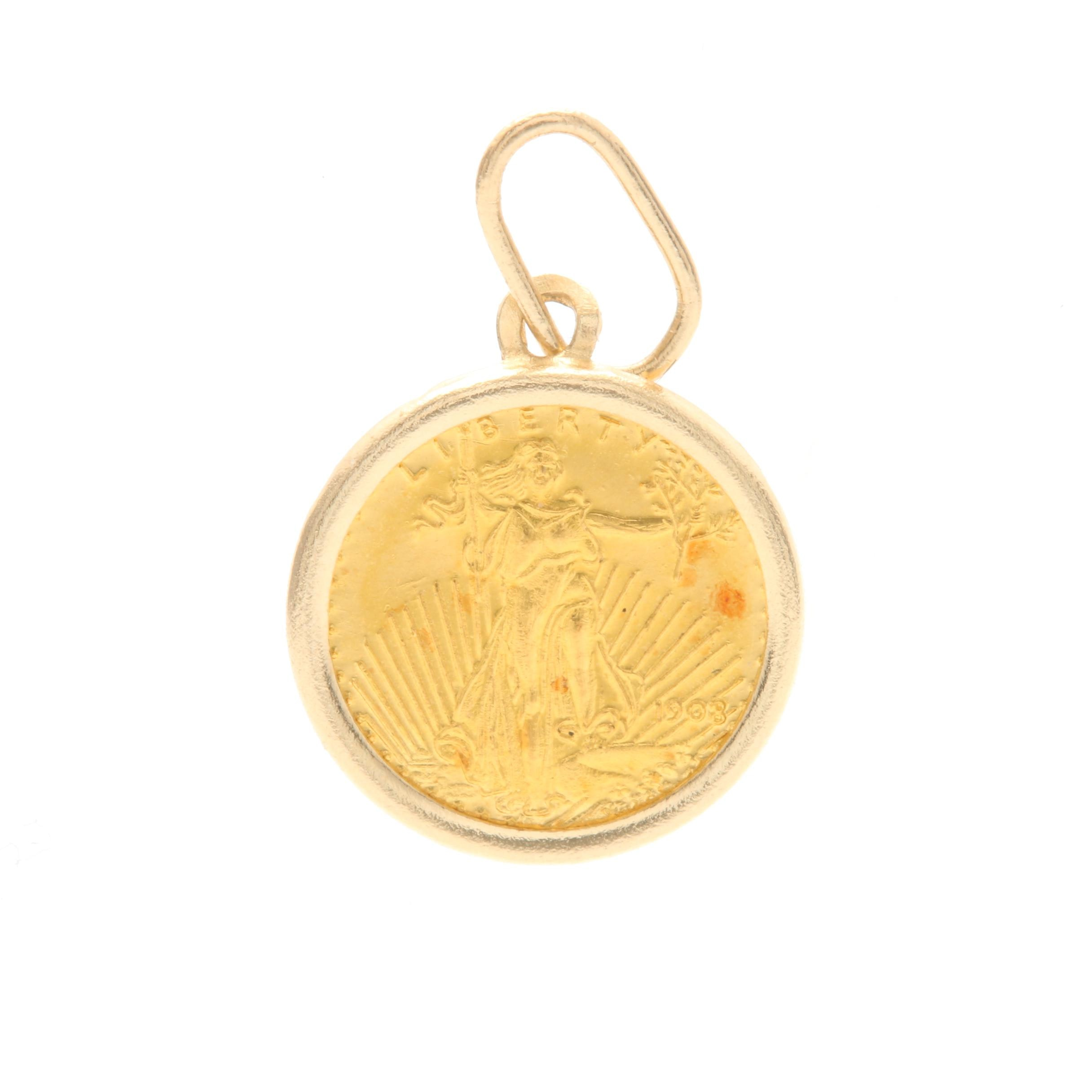 14K Yellow Gold Coin Pendant with 22K Gold Miniature Coin Replica
