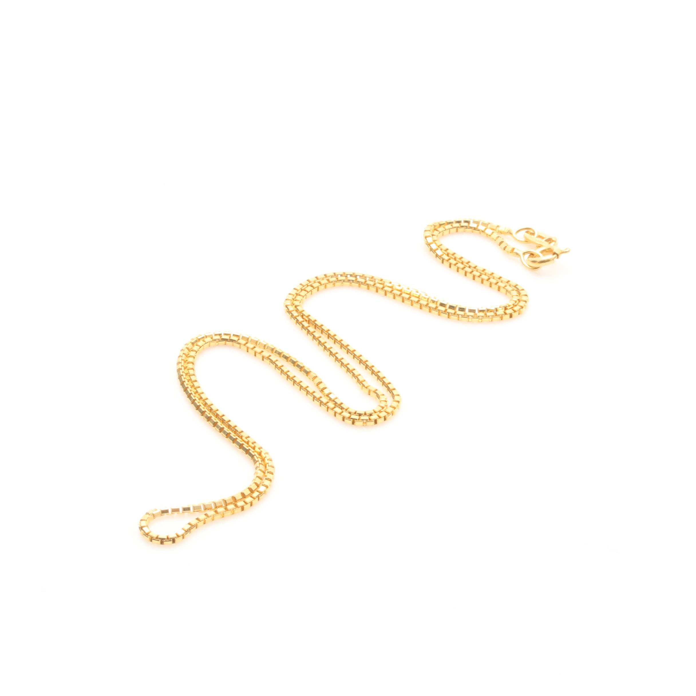 14K Yellow Gold Italian Box Link Chain Necklace
