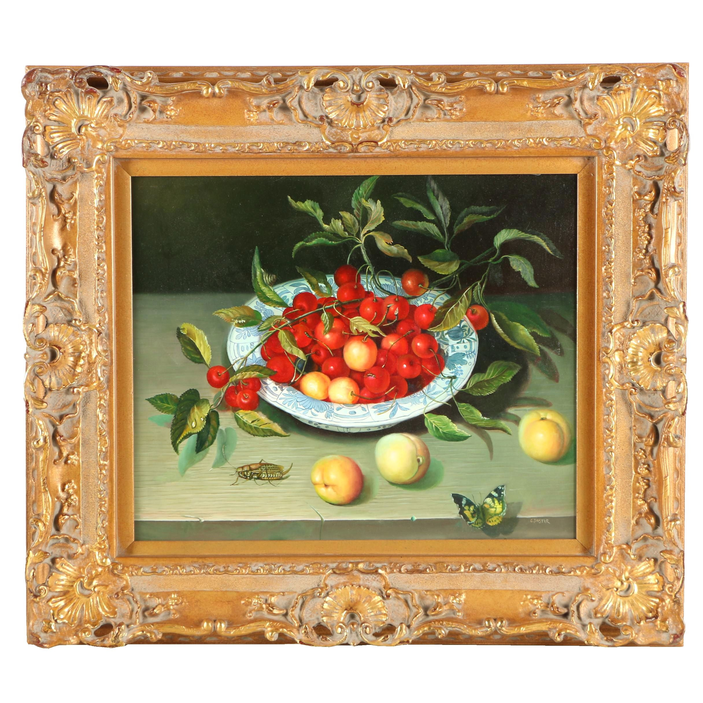 C. Foster Oil Still Life Painting of Cherries