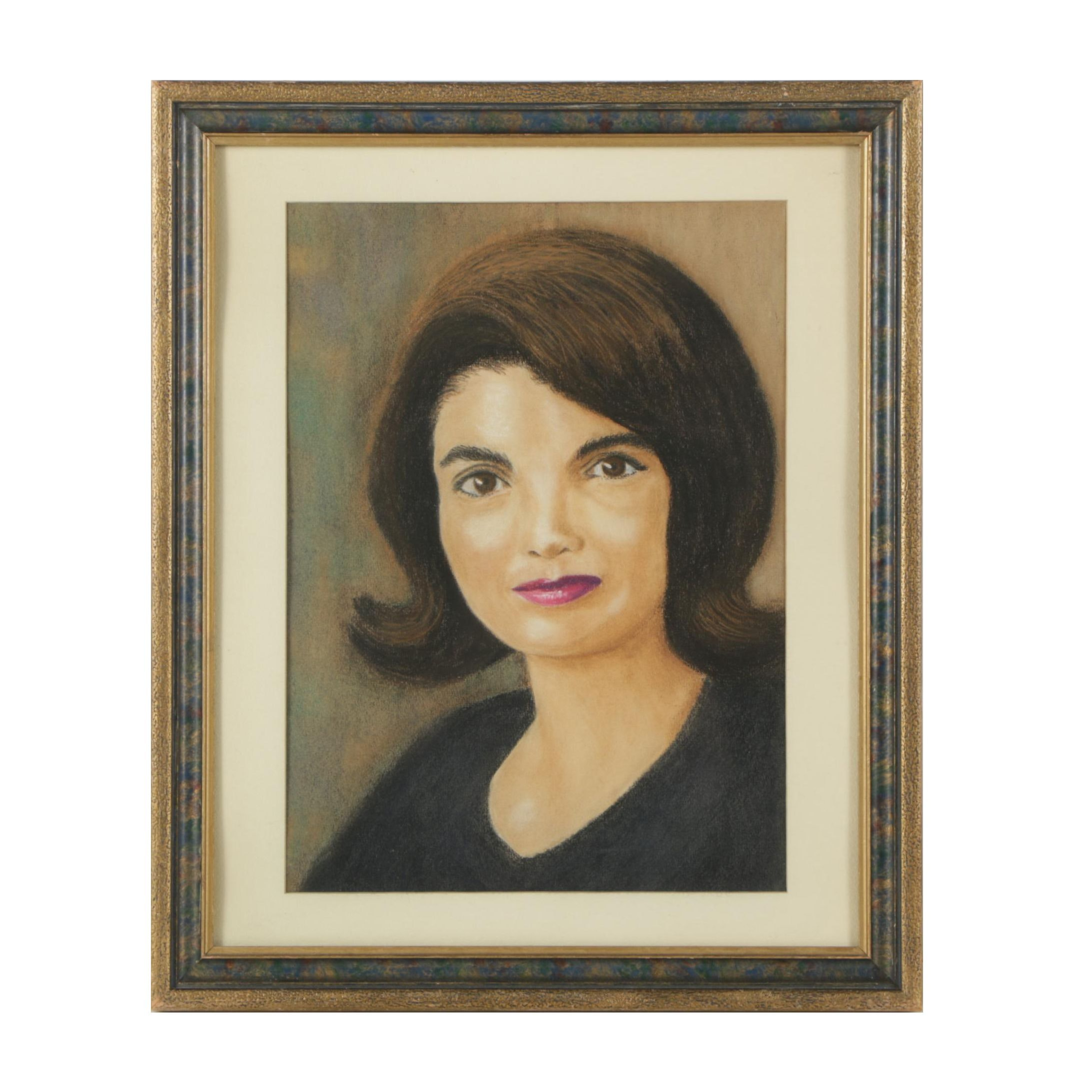Pastel Drawing of Jacqueline Kennedy Onassis