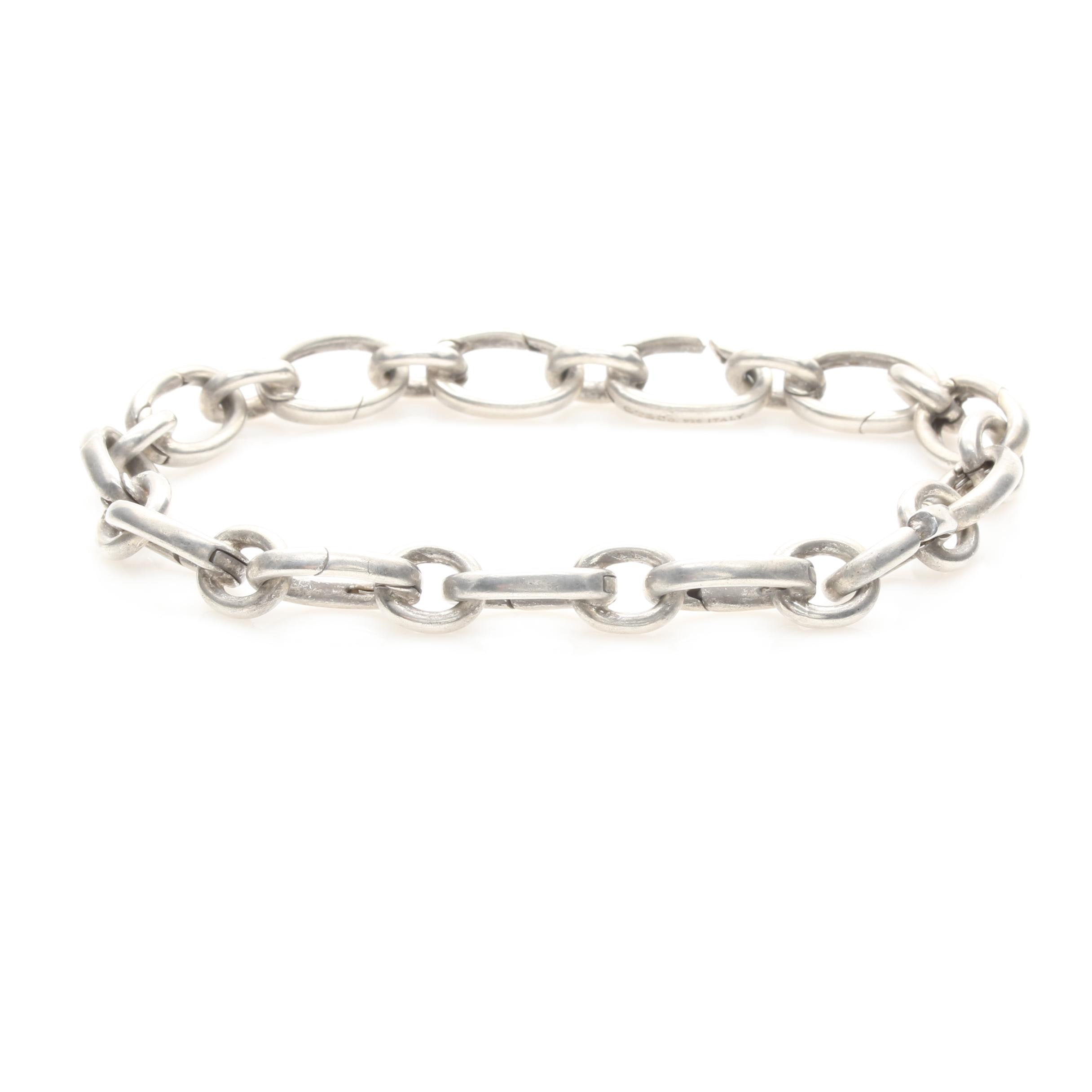 Tiffany & Co. Sterling Silver Clasping Link Charm Bracelet