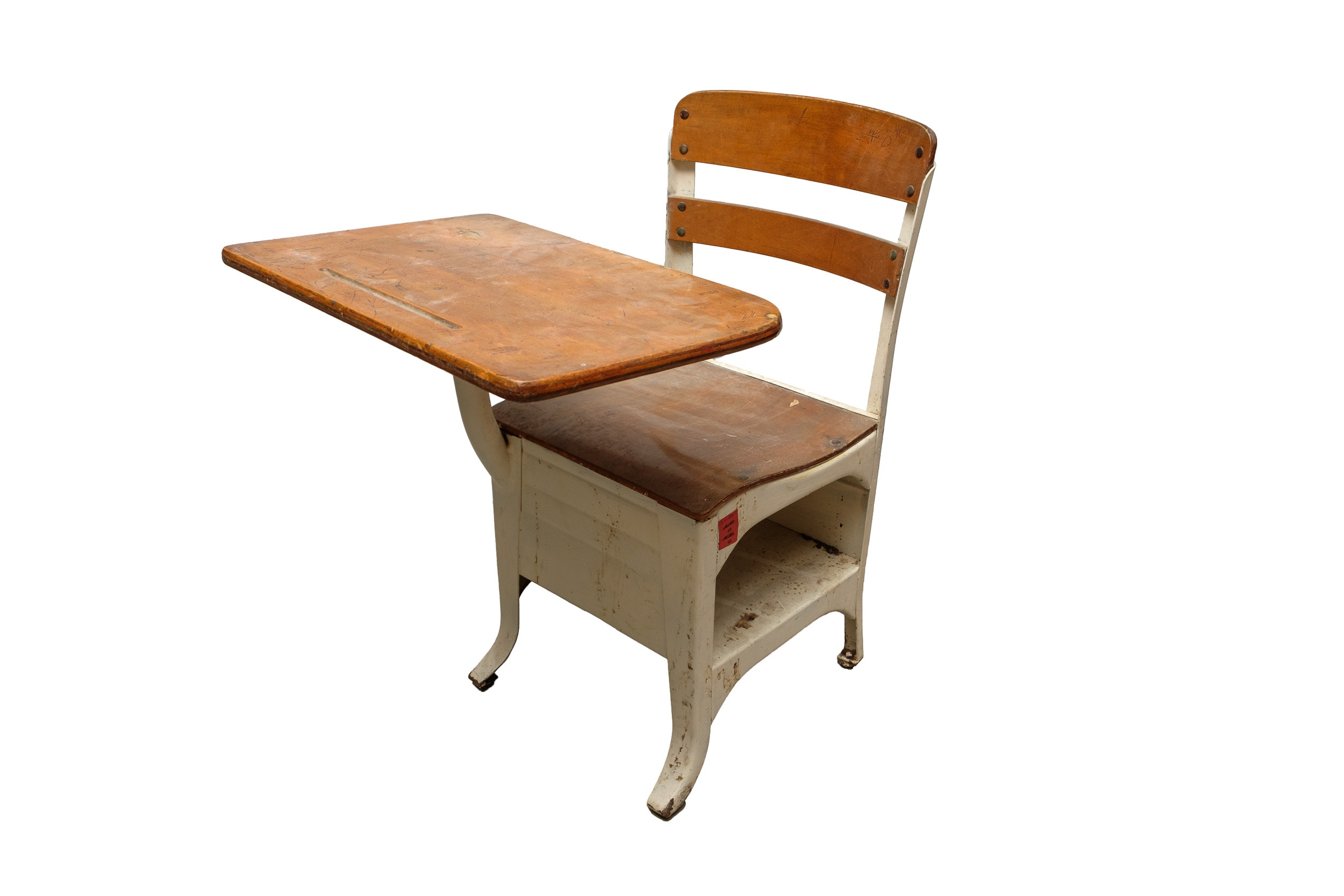 Vintage Metal and Maple School Desk