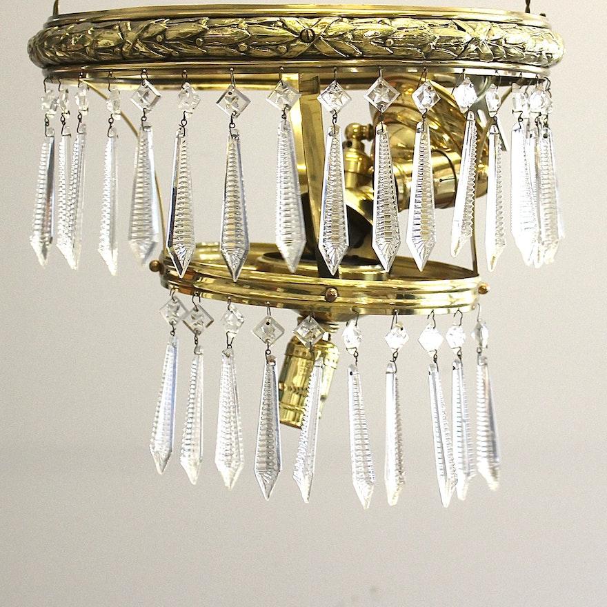 Vintage brass and crystal teardrop chandelier ebth vintage brass and crystal teardrop chandelier aloadofball Images