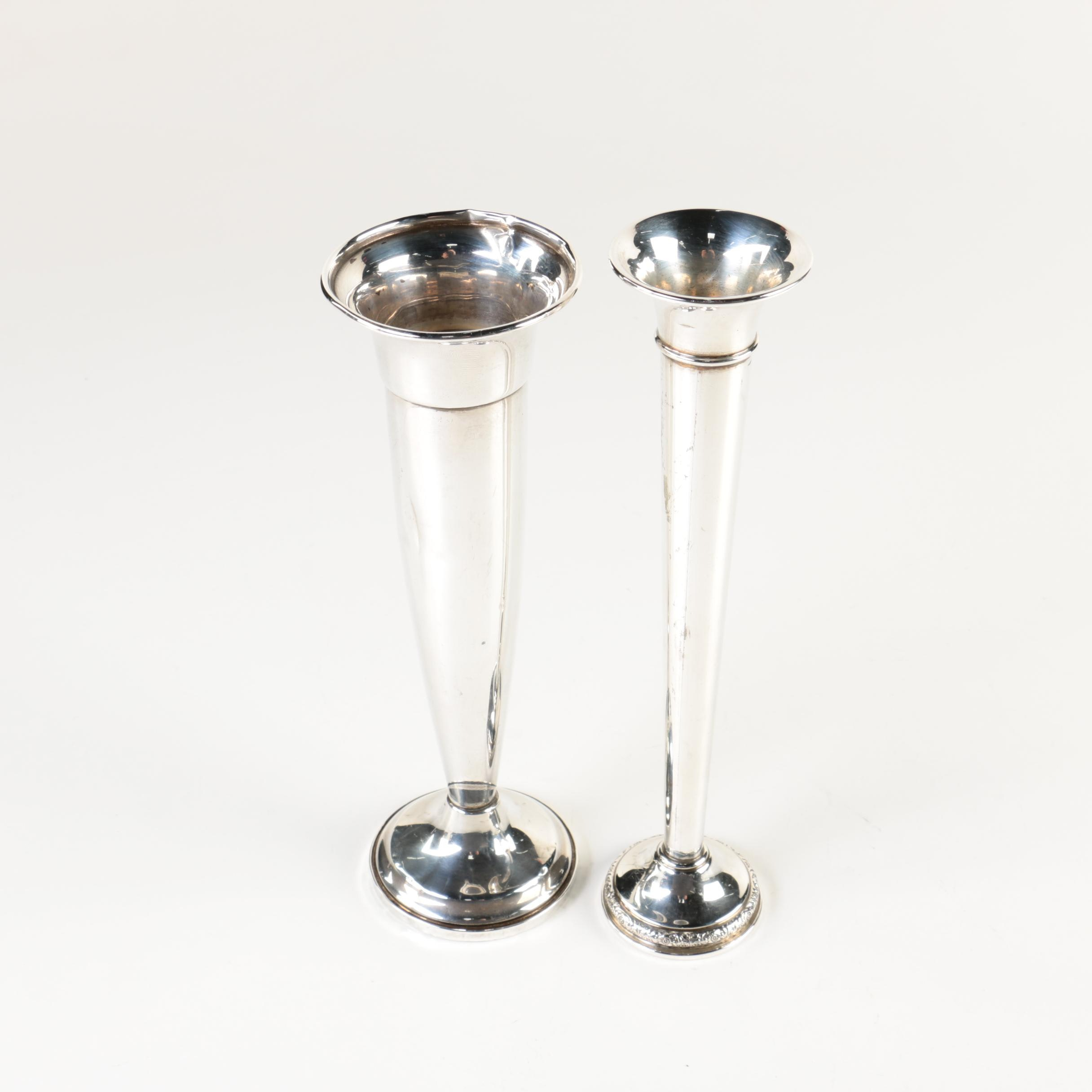 "International Silver ""Prelude"" and Towle Weighted Sterling Silver Bud Vases"