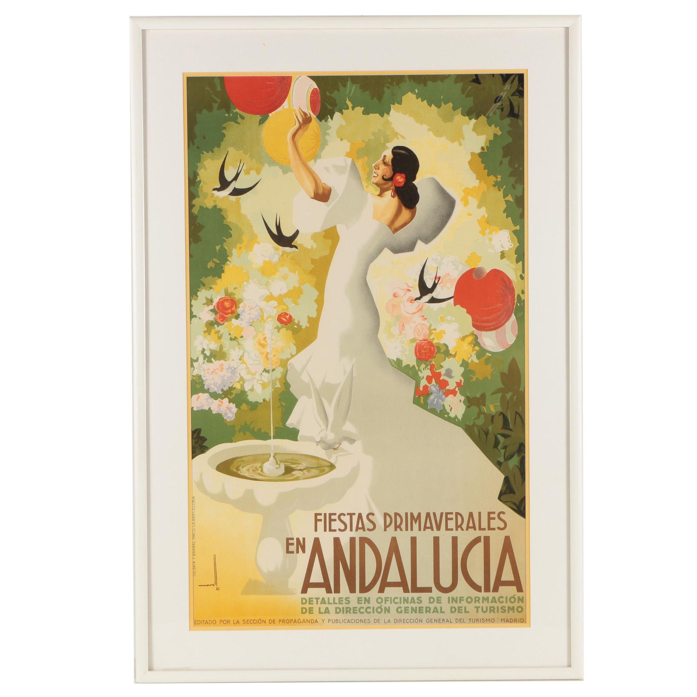 "Lithographic Poster Jose Morell ""Fiestas Primaverales En Andalucia"""