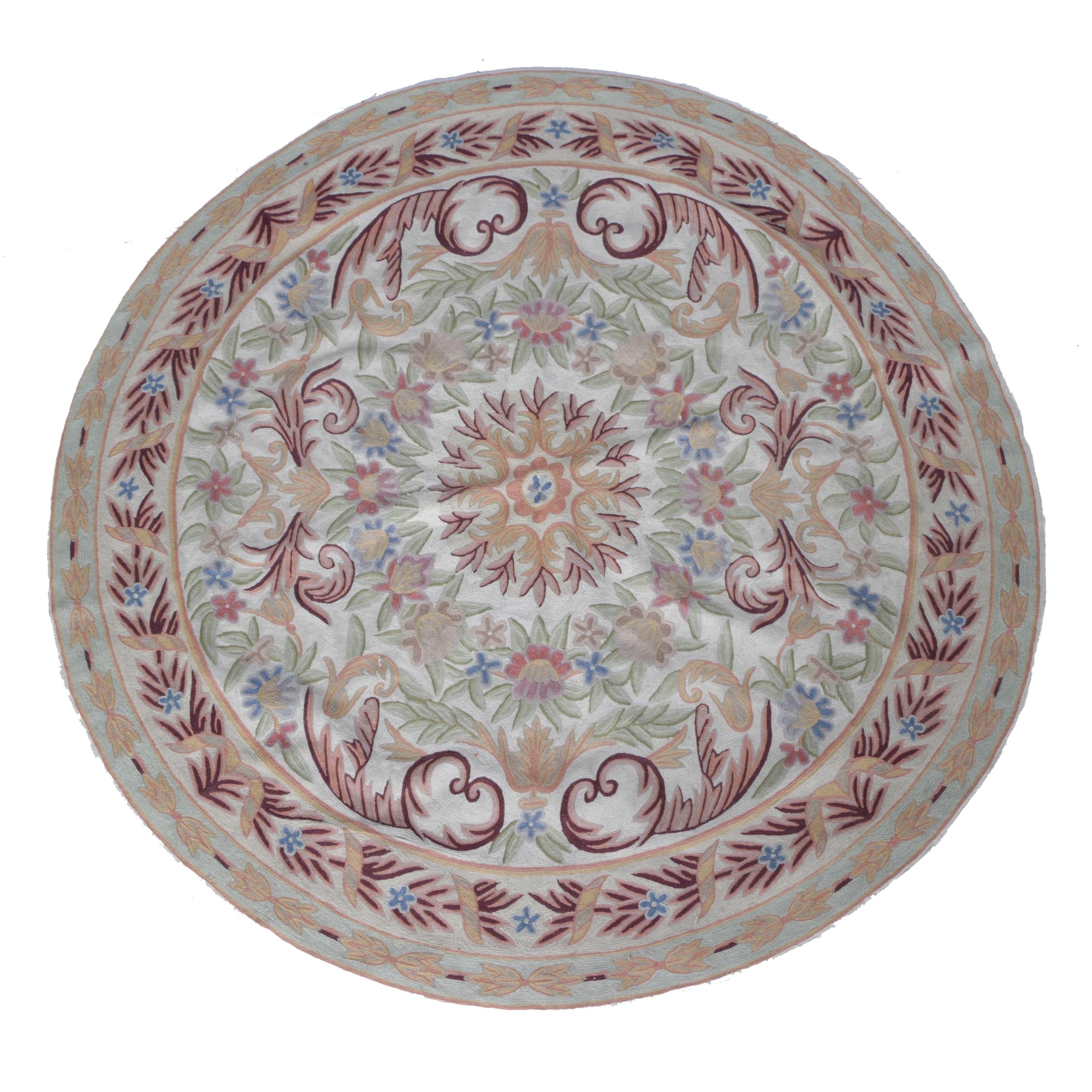 Handwoven Round Floral Accent Rug