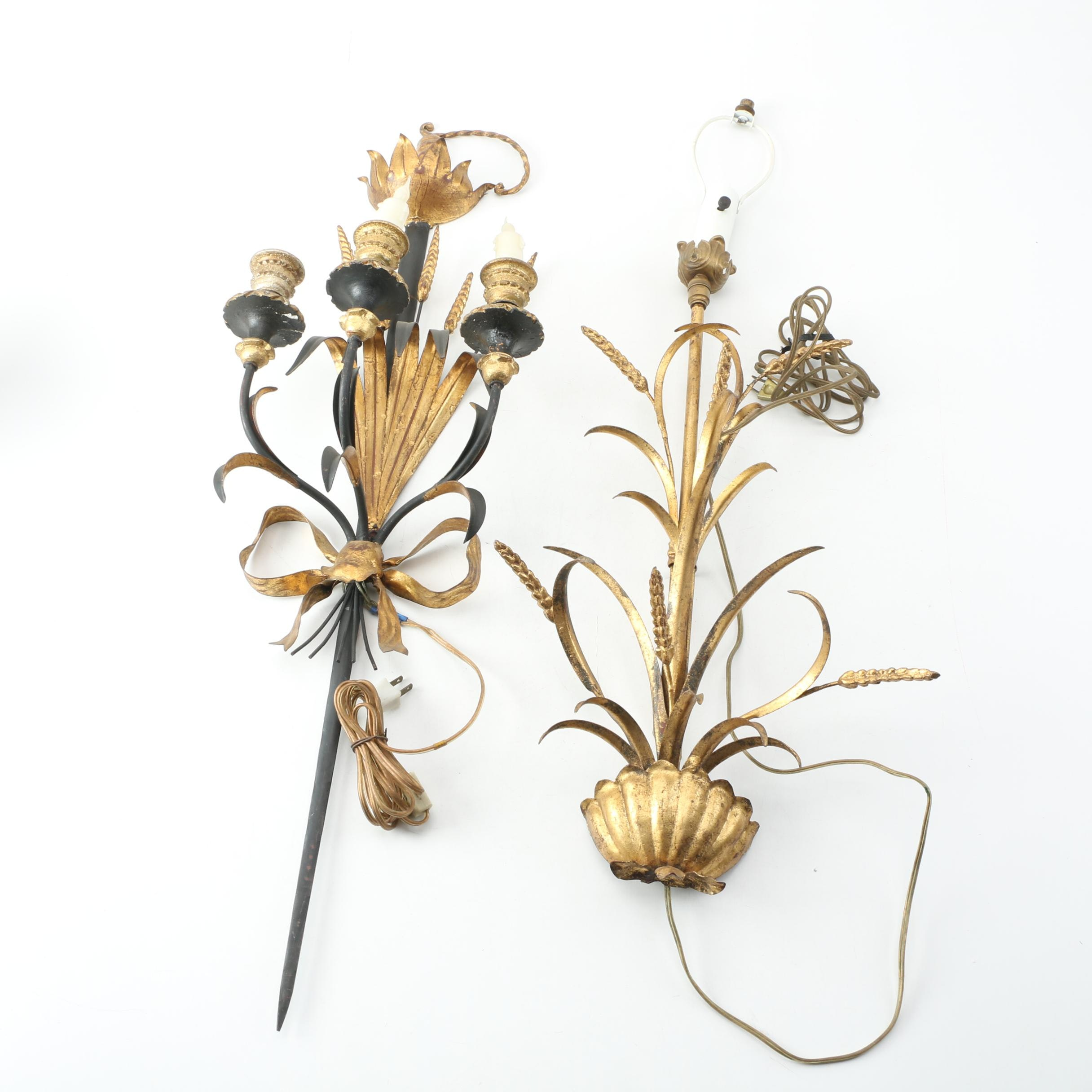 Gold Tone Tole Wall Sconces with Wheat Accents
