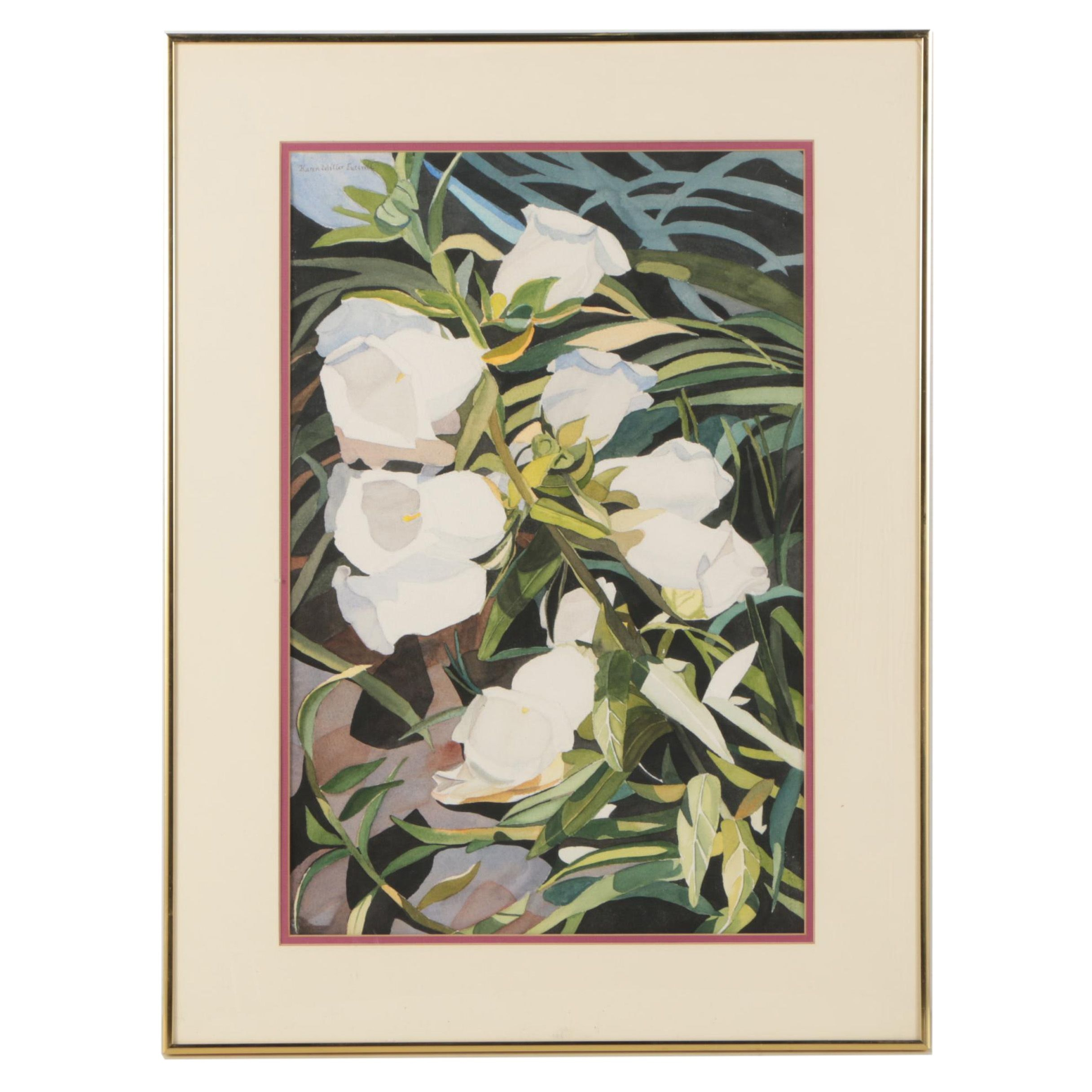 "Karen Miller Luttrell Watercolor Painting ""Anne's Canterbury Bells"""