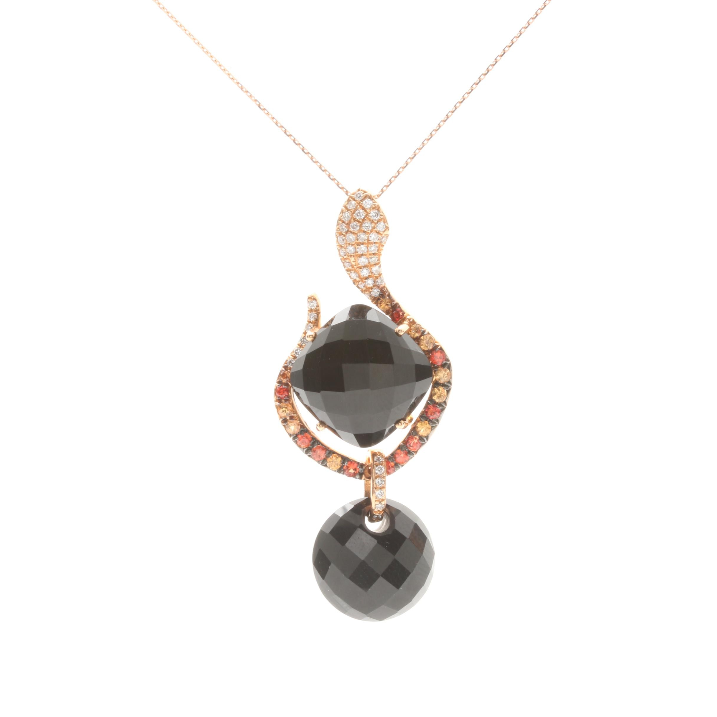 18K Rose Gold Onyx and Diamond Snake Pendant Necklace with Orange Sapphire