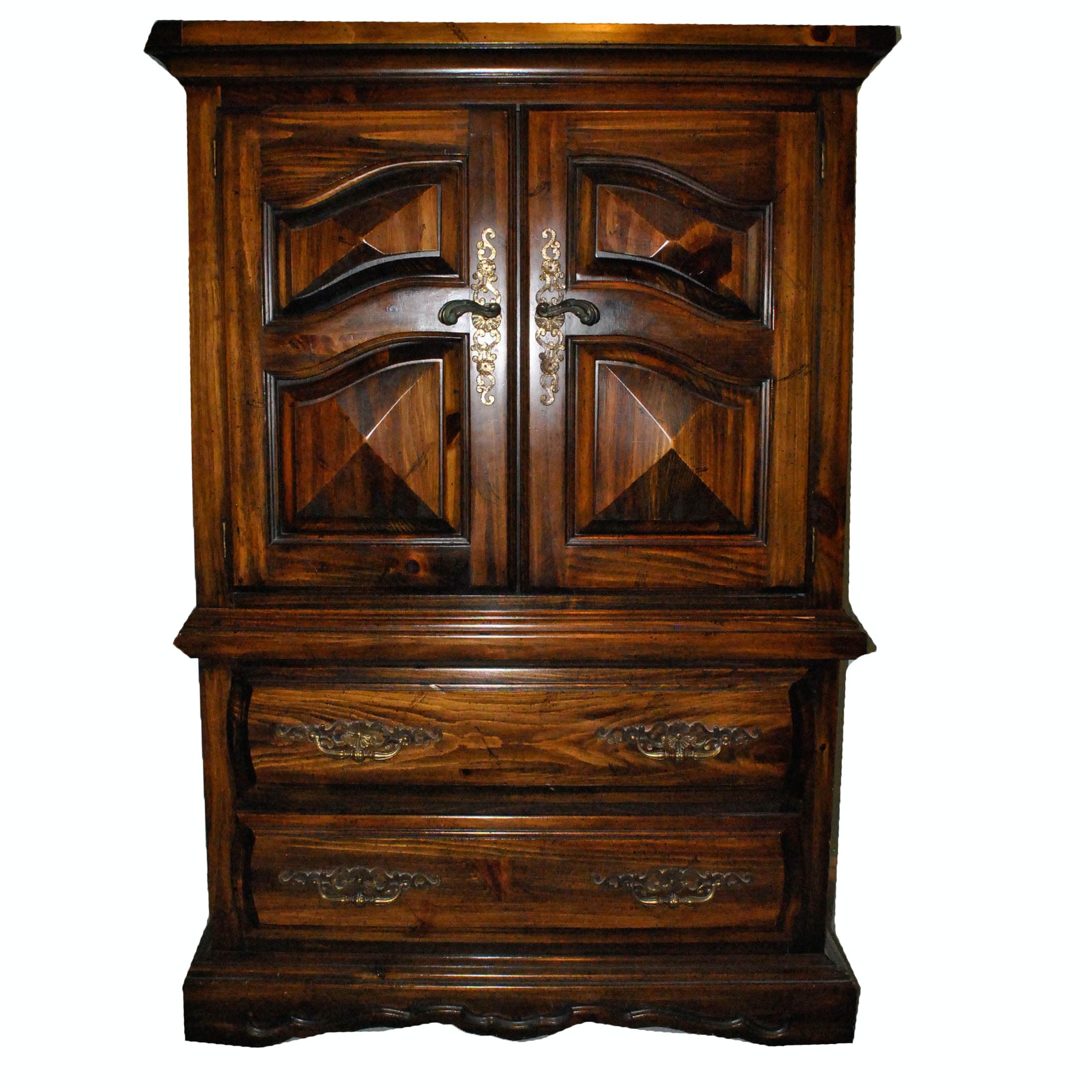 Mid-Century Pine Wardrobe Cabinet