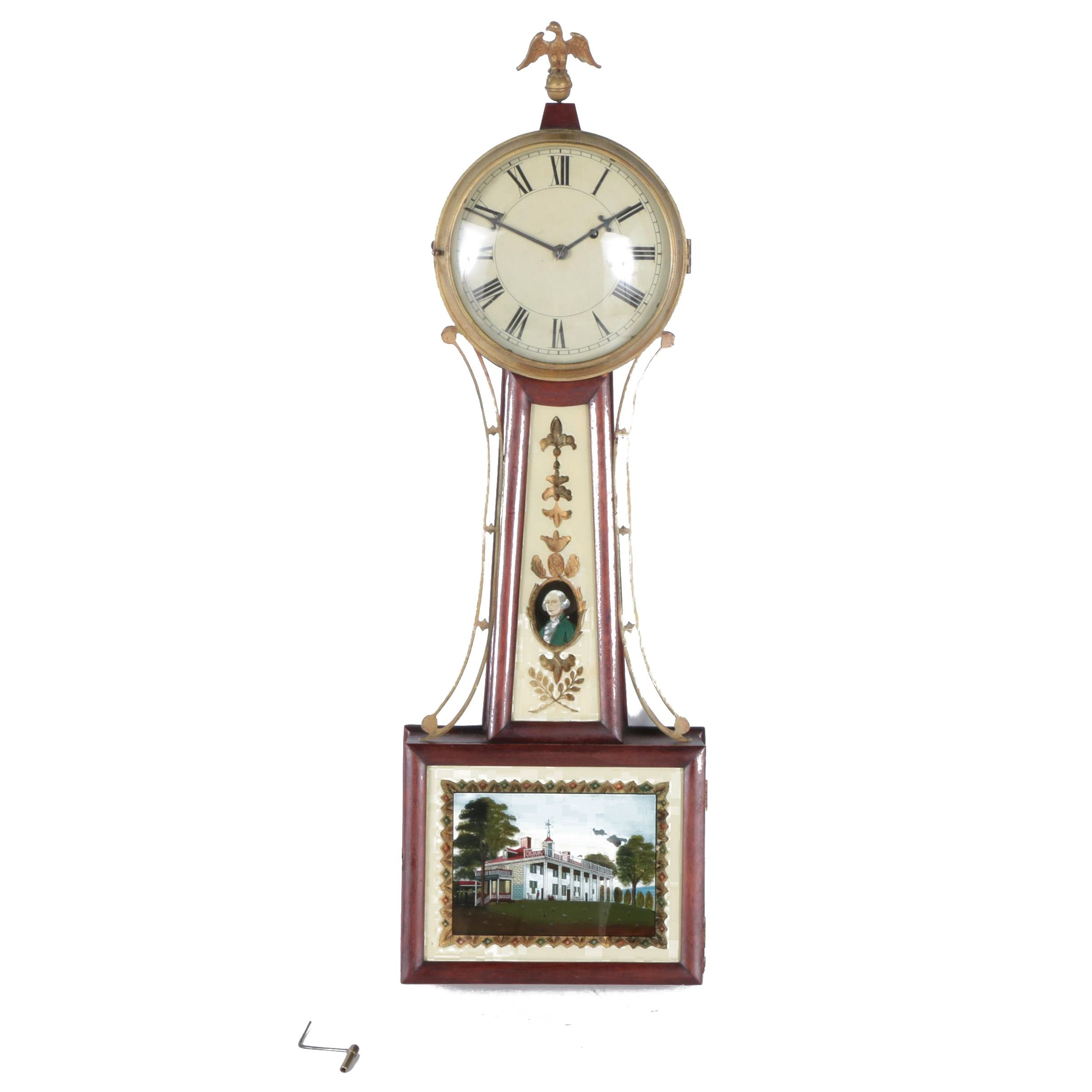 Antique Federal Style Banjo Clock with Eglomise Glass Panels