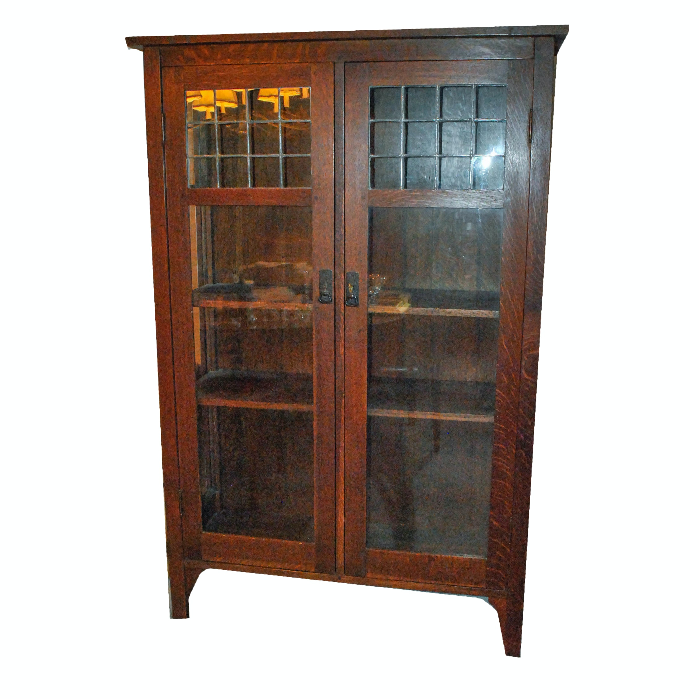 Antique L. & J.G. Stickley Oak China Cabinet