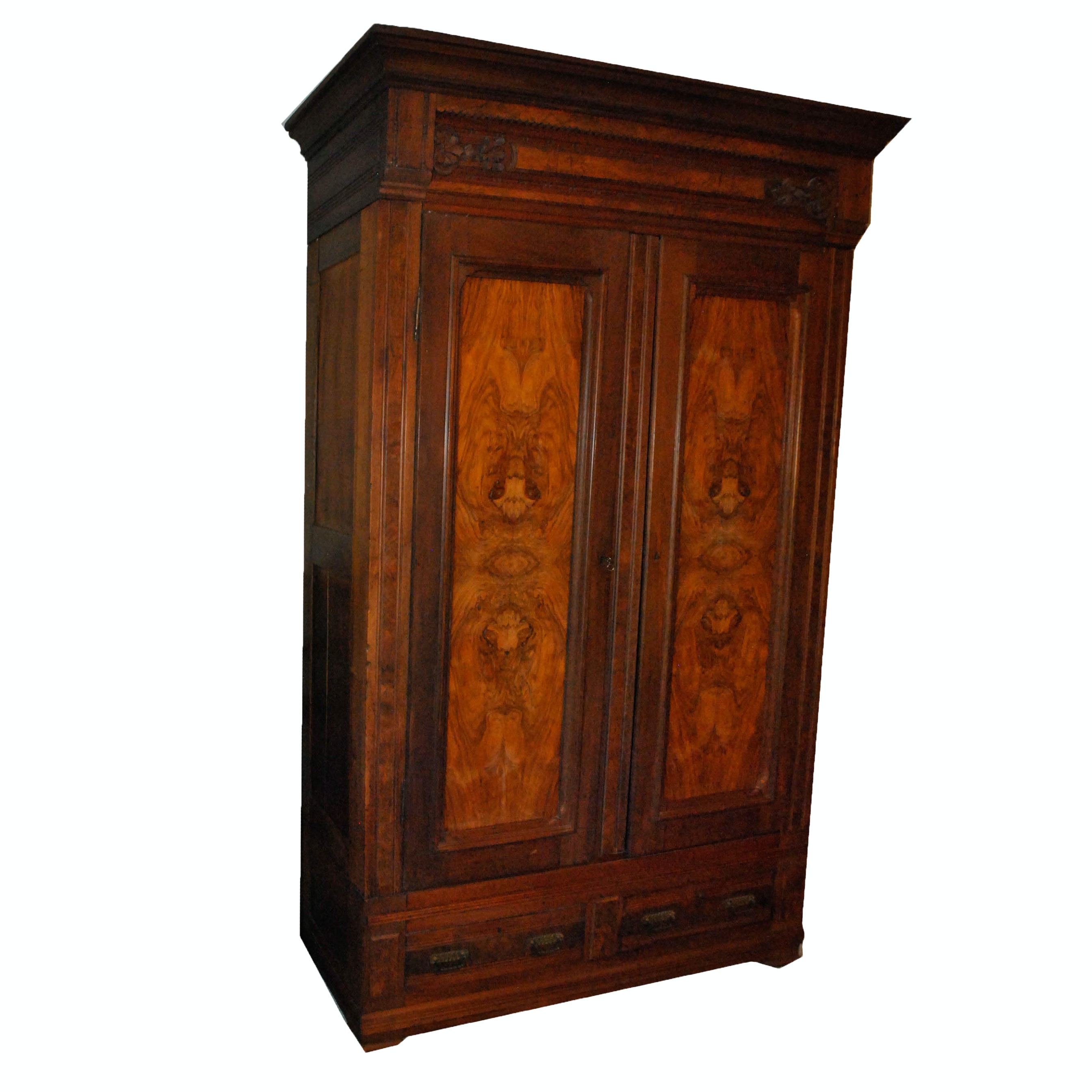 Antique Victorian Carved Walnut and Burled Wardrobe