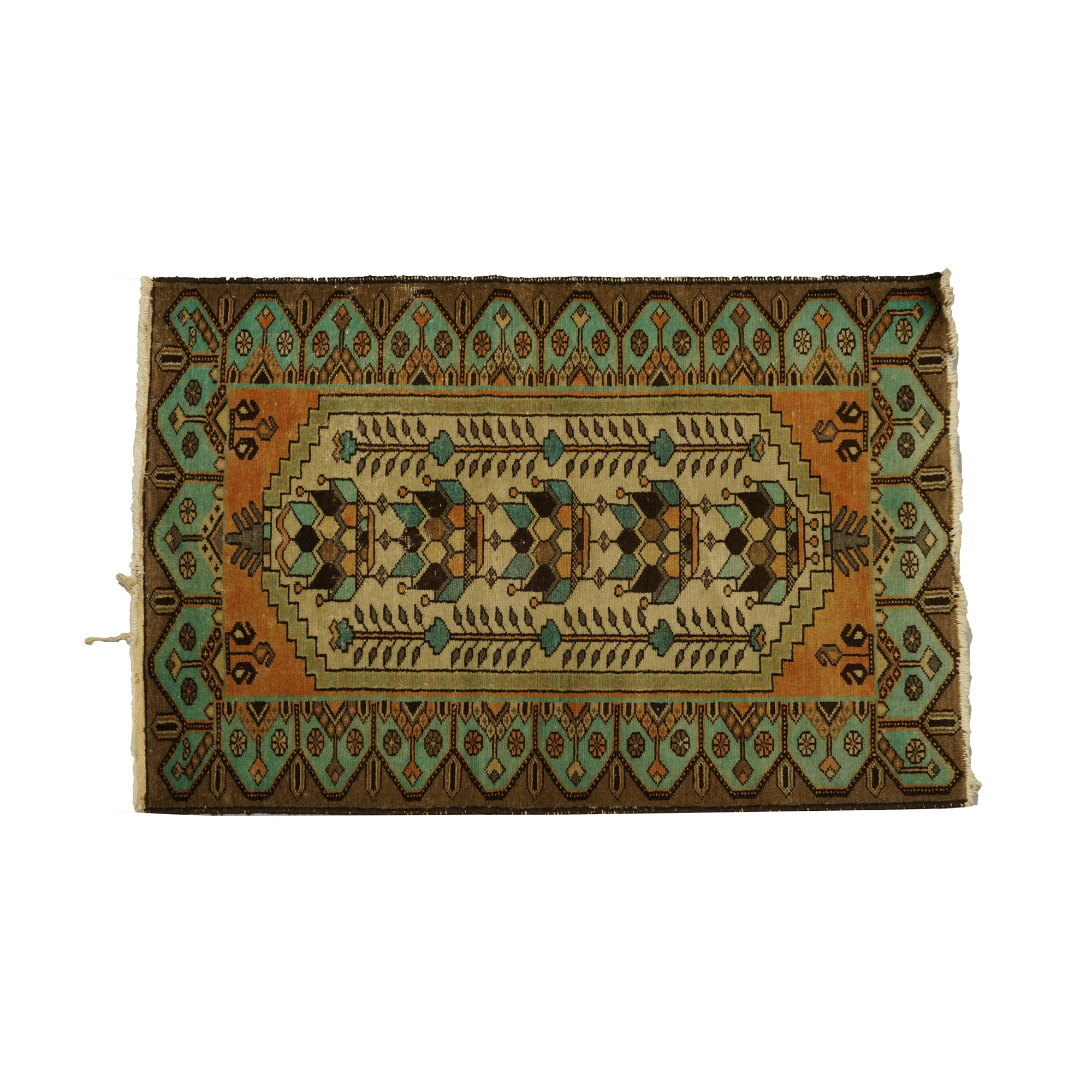 Antique Hand-Knotted Wool Double-Niche Prayer Rug