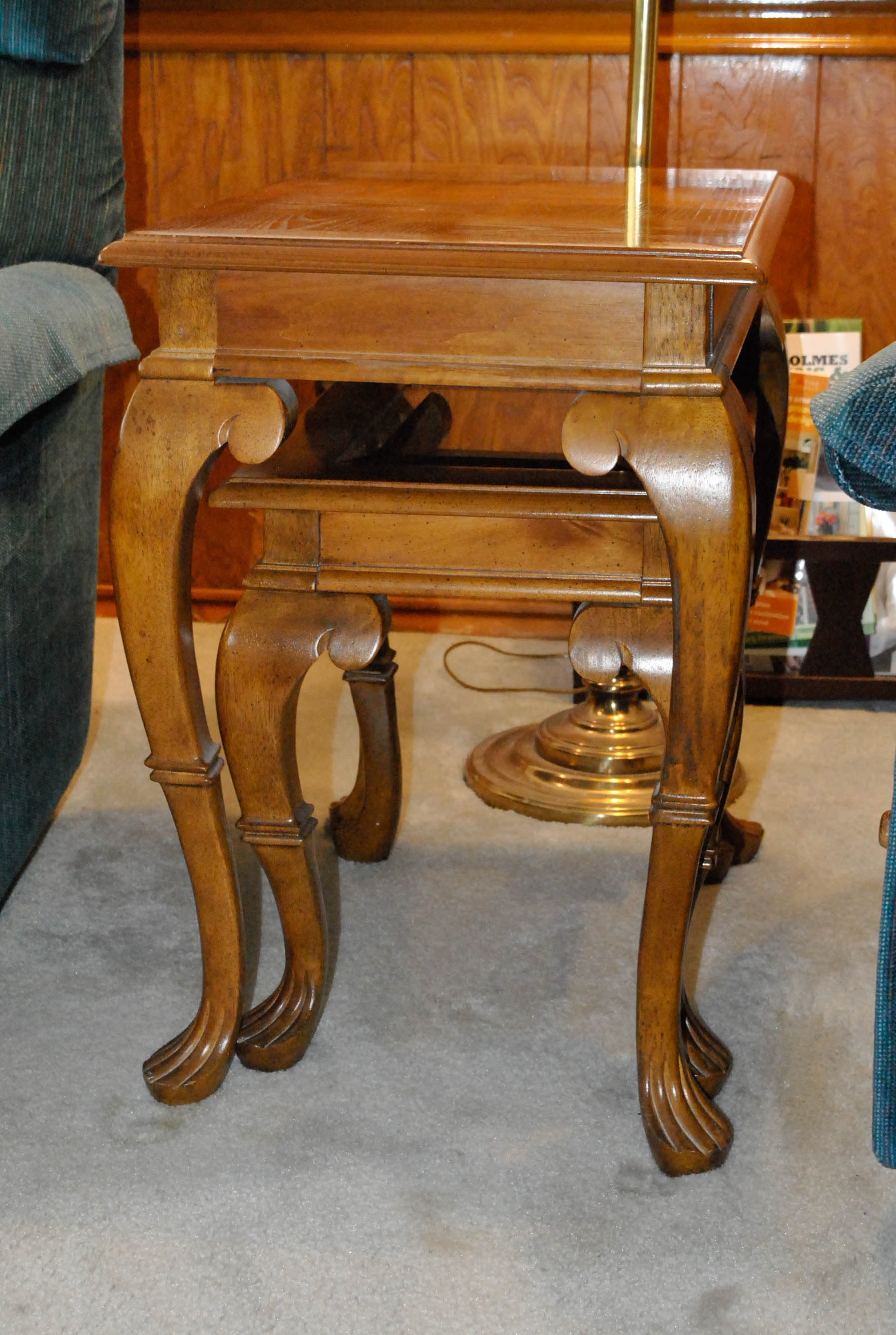 Contemporary Queen Anne Style Oak Nesting Tables