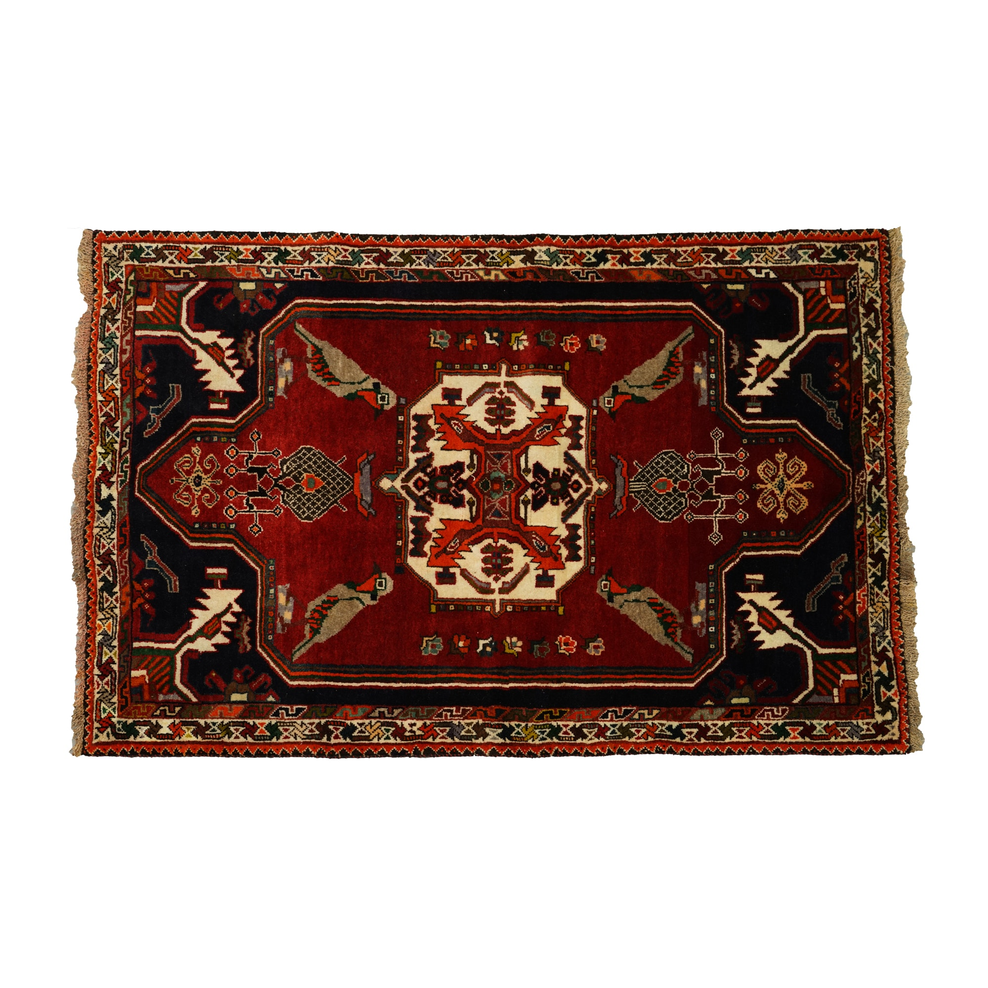 Hand-Knotted Southwest Persian Pictorial Wool Area Rug