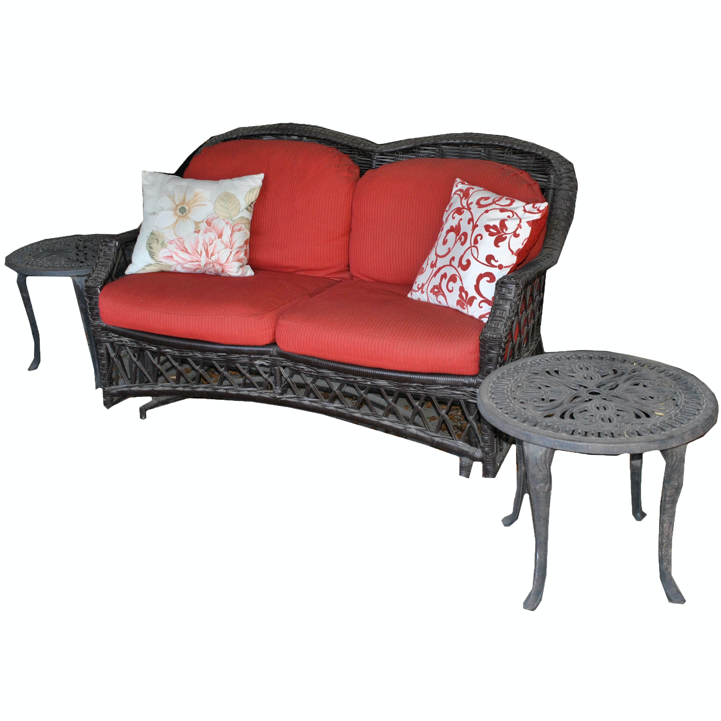 Wicker Glider Loveseat with End Tables
