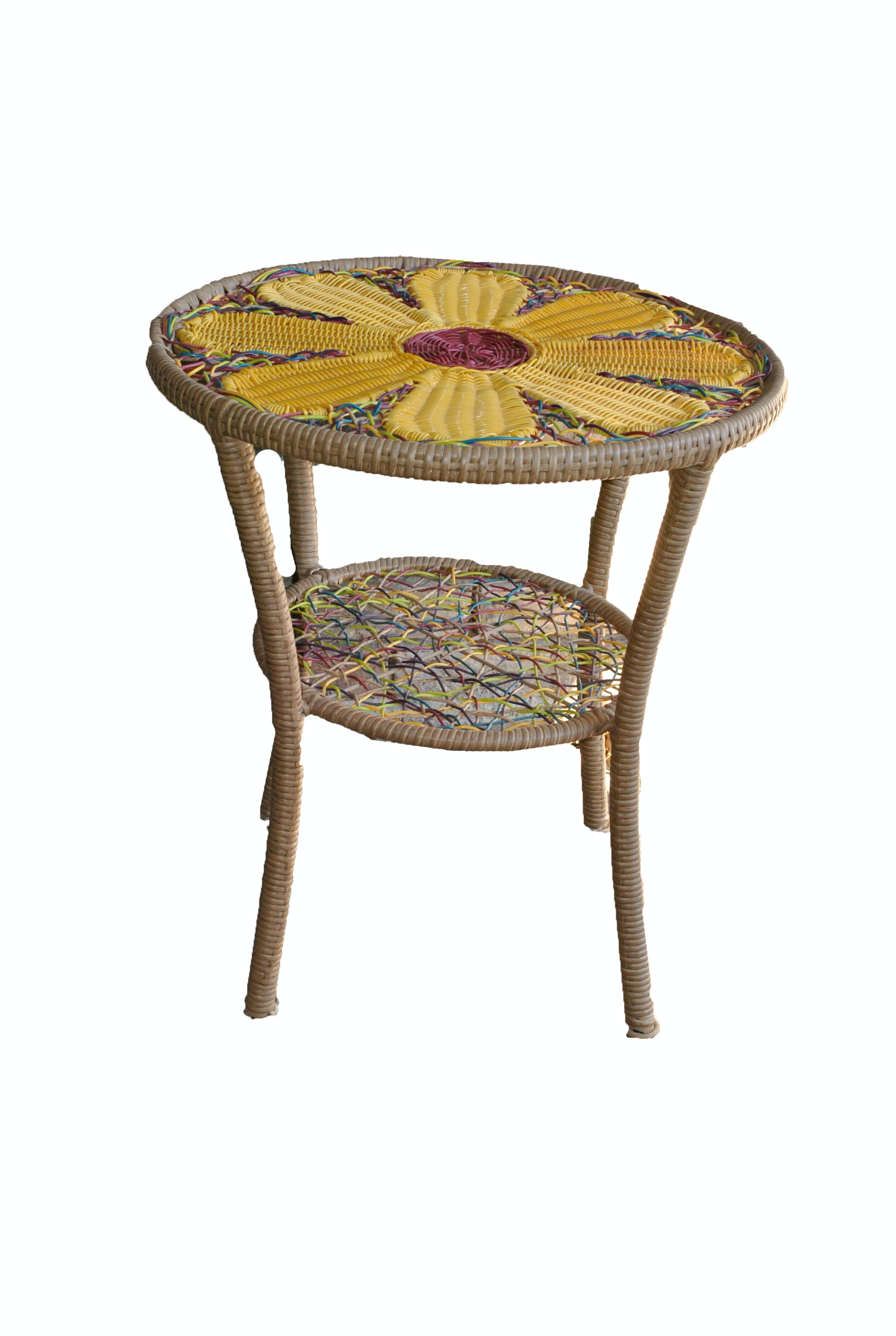 Bohemian Style Wicker Side Table with Yellow Daisy Motif