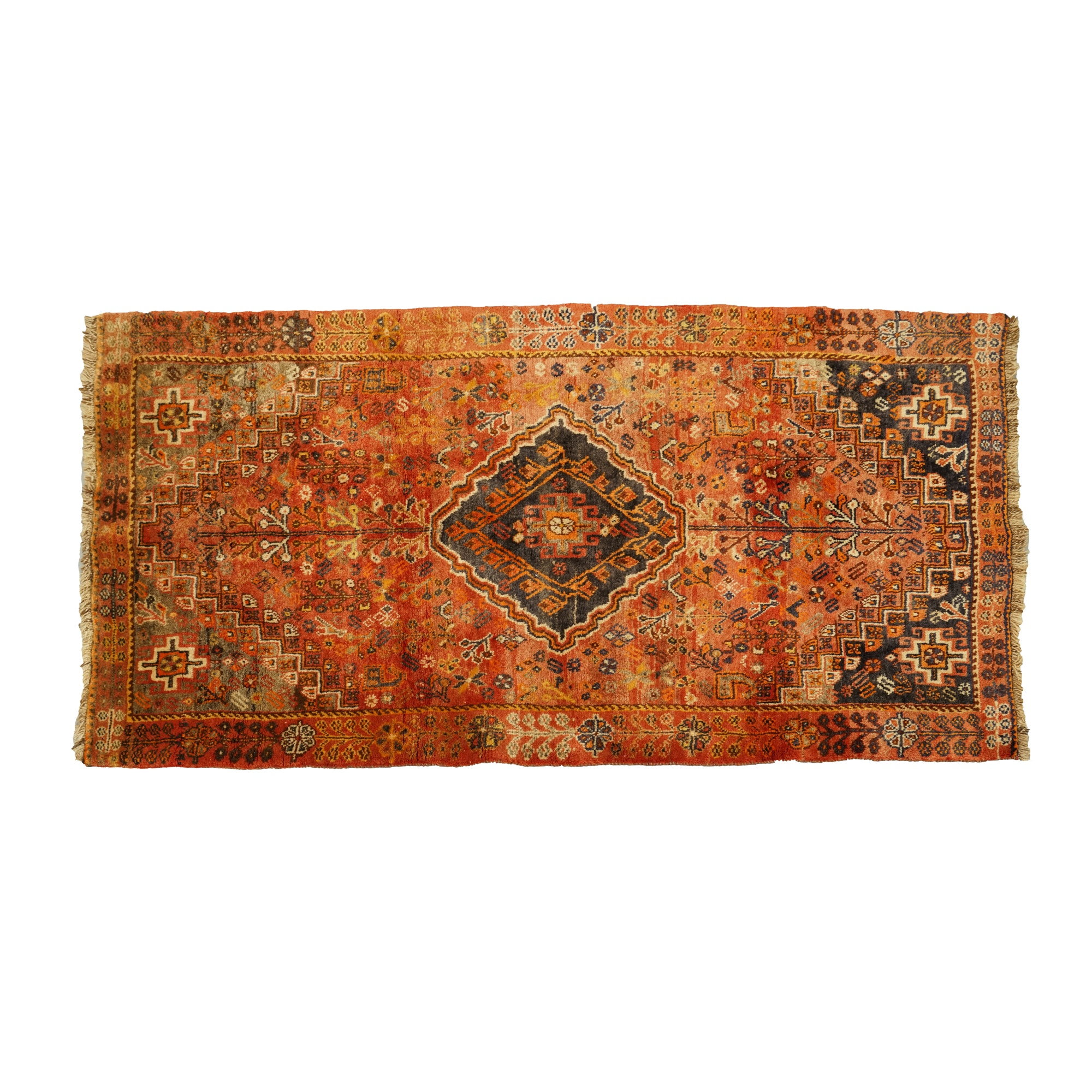 Hand-Knotted Persian Qashqai Wool Area Rug