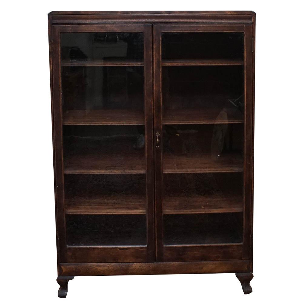 Antique Birch Bookcase Cabinet