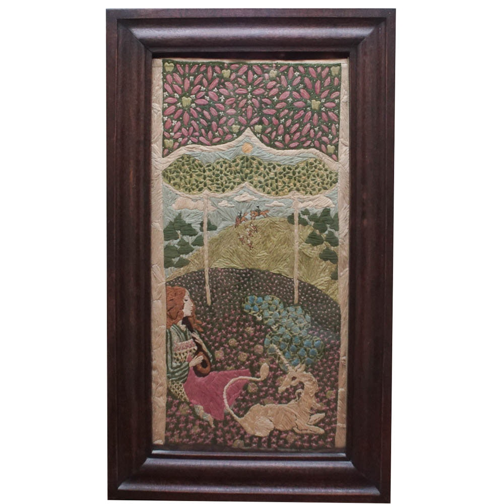 Framed Hand Embroidered Mythical Scene