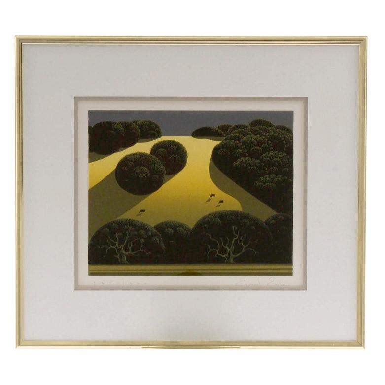 """Eyvind Earle Serigraph """"Valley"""" Series Landscape"""