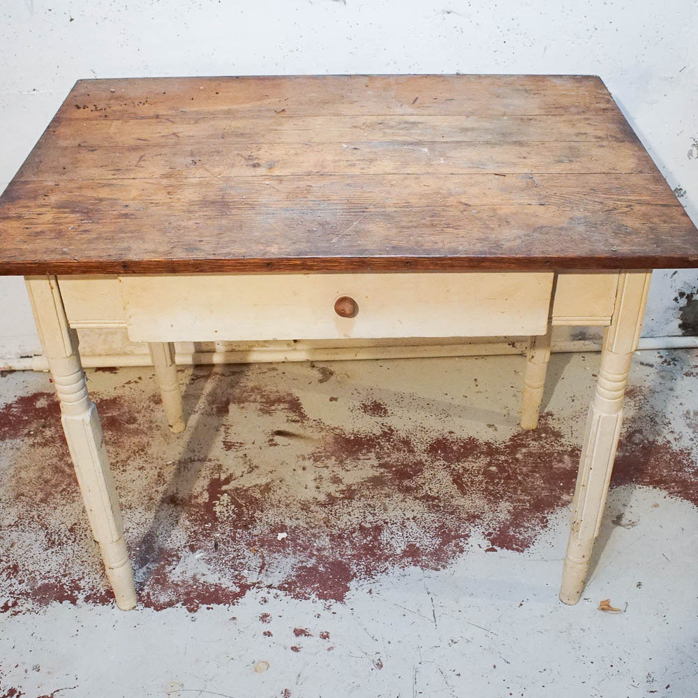 Antique Painted Writing Desk with Chestnut Top