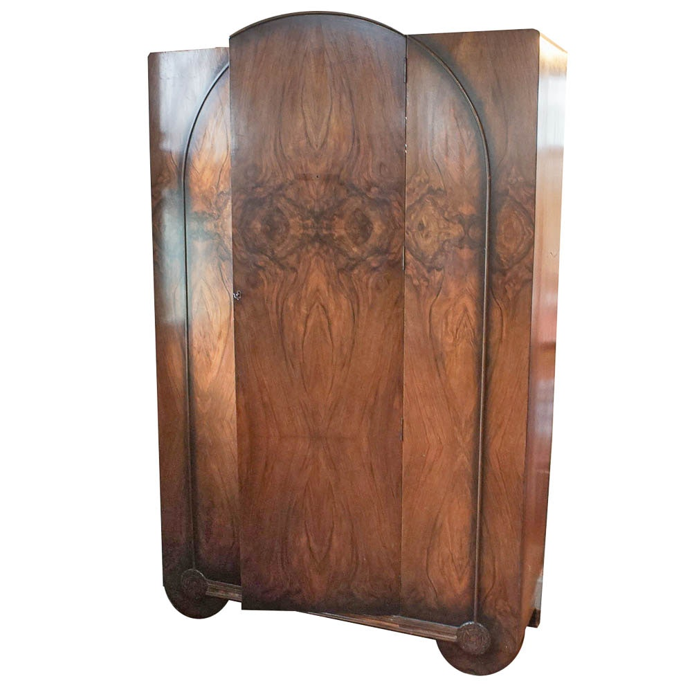 Art Deco Circassian Walnut Wardrobe