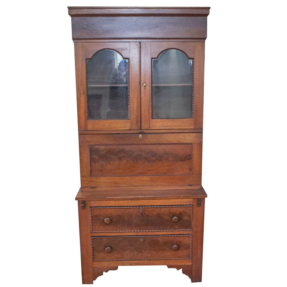 Early Victorian Walnut Secretary Hutch