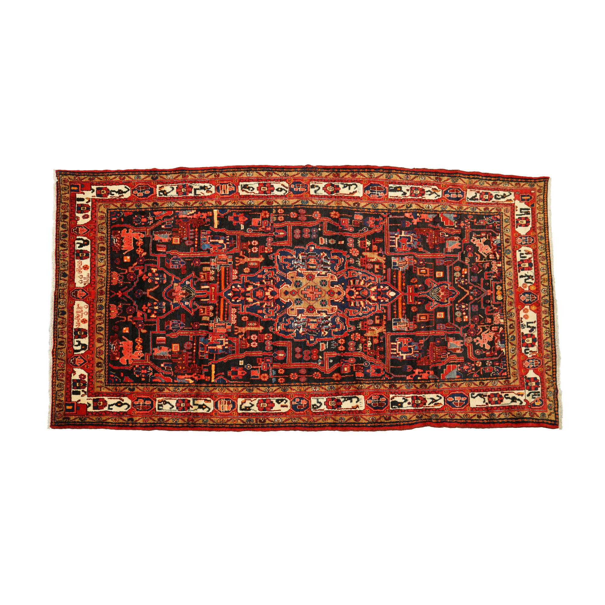 Hand-Knotted Signed Persian Nahavand Wool Long Area Rug