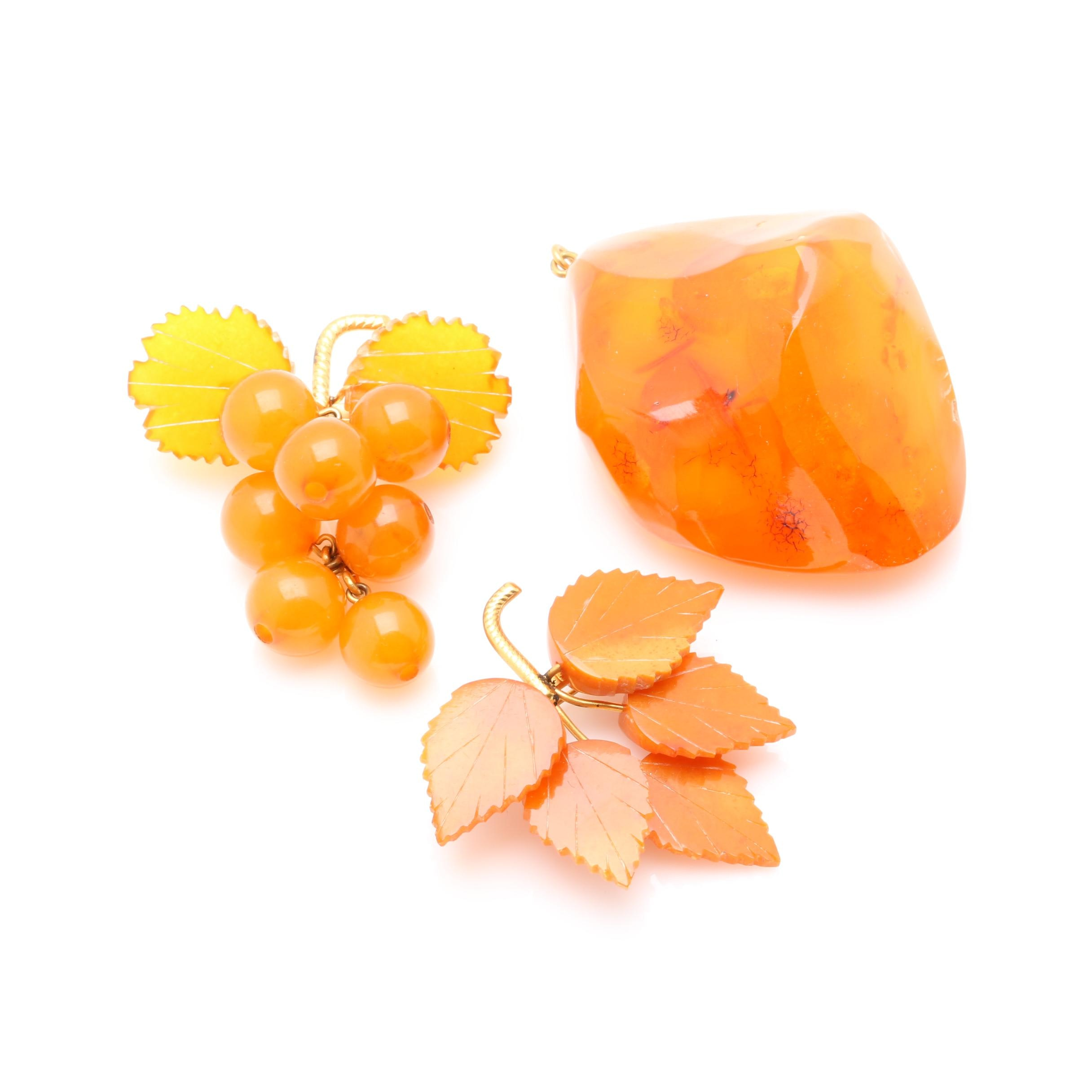 Amber Pendant and Brooches