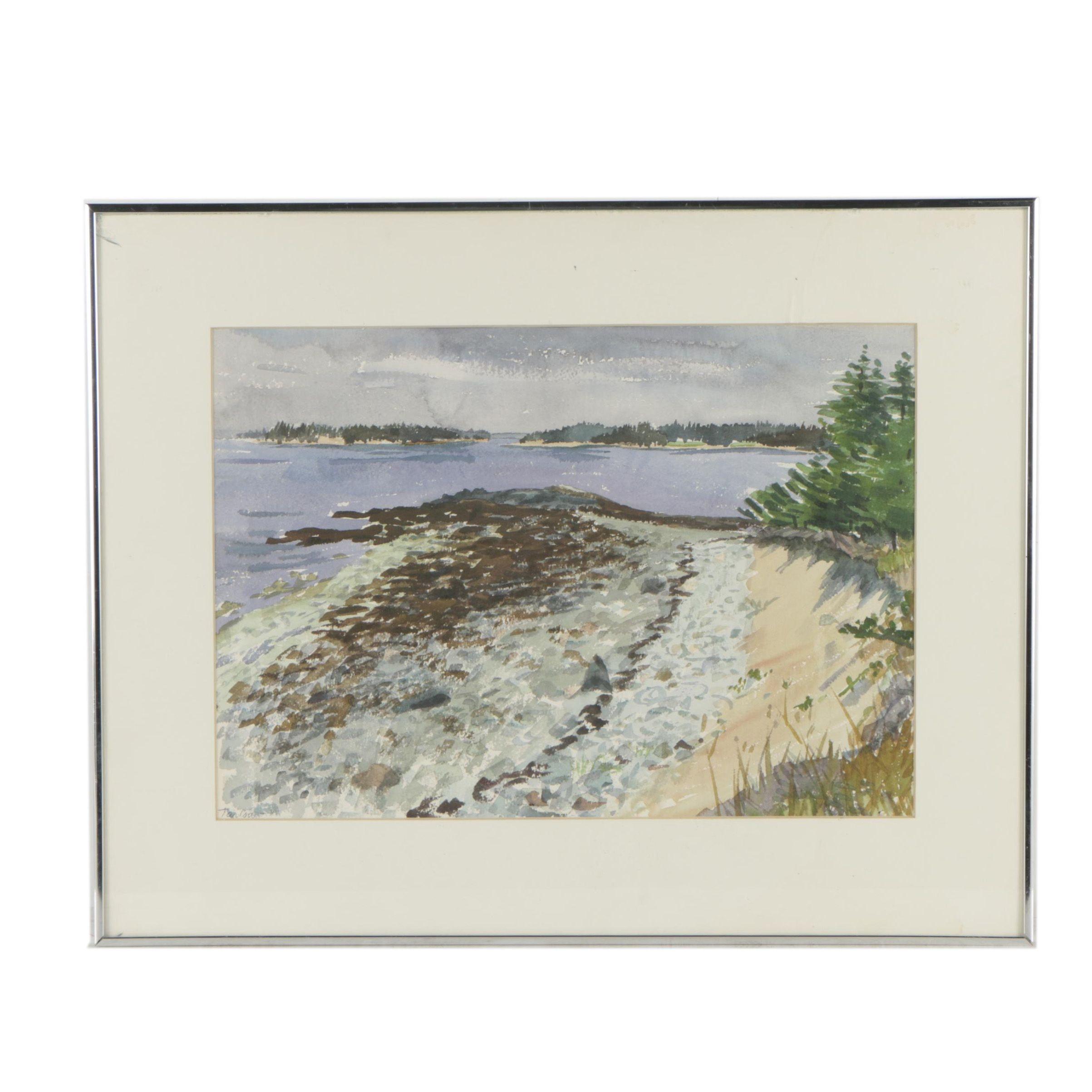 Tarlow Watercolor Painting of a Lake Shore