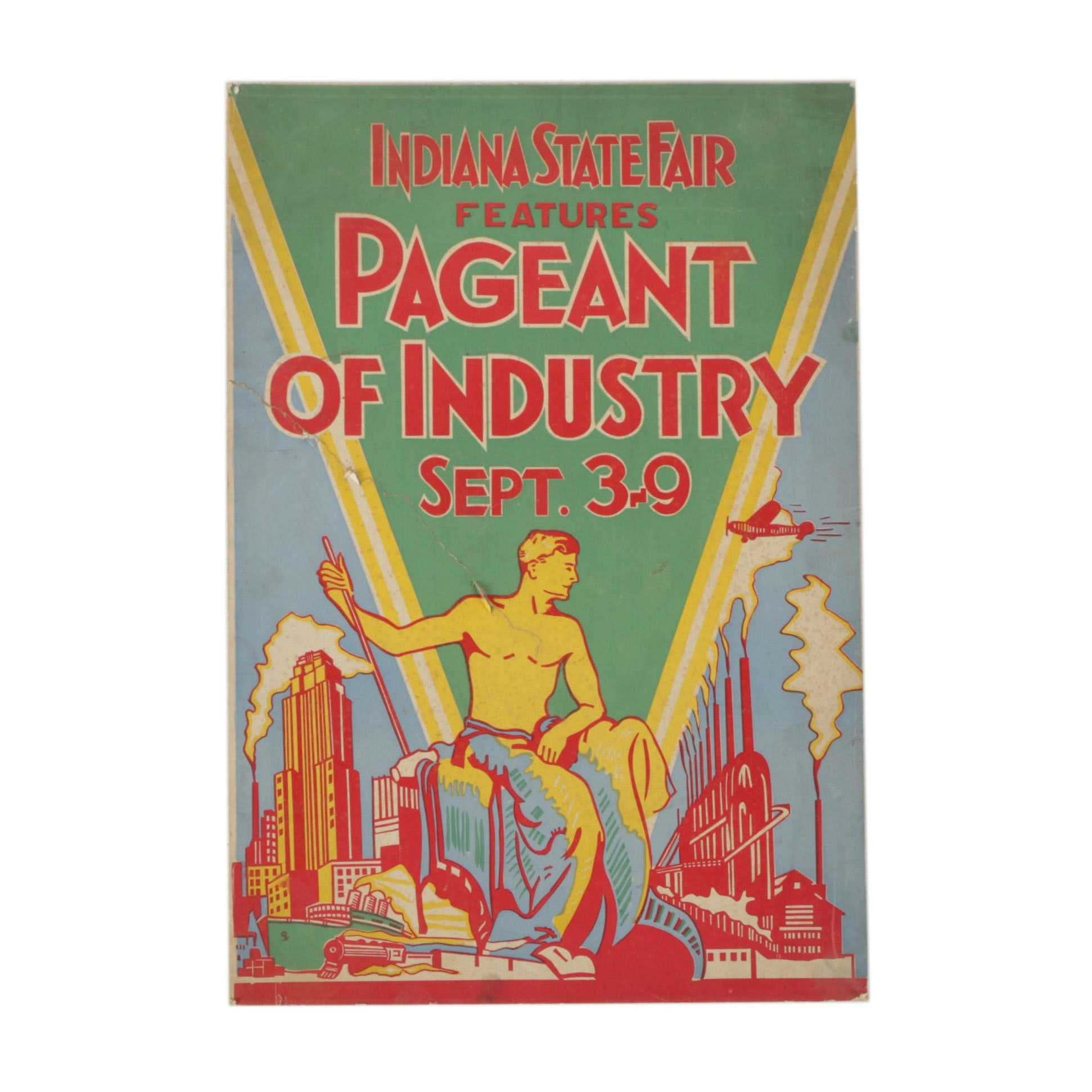 "1932 Indiana State Fair Art Deco Woodcut Poster for ""Pageant of Industry"""
