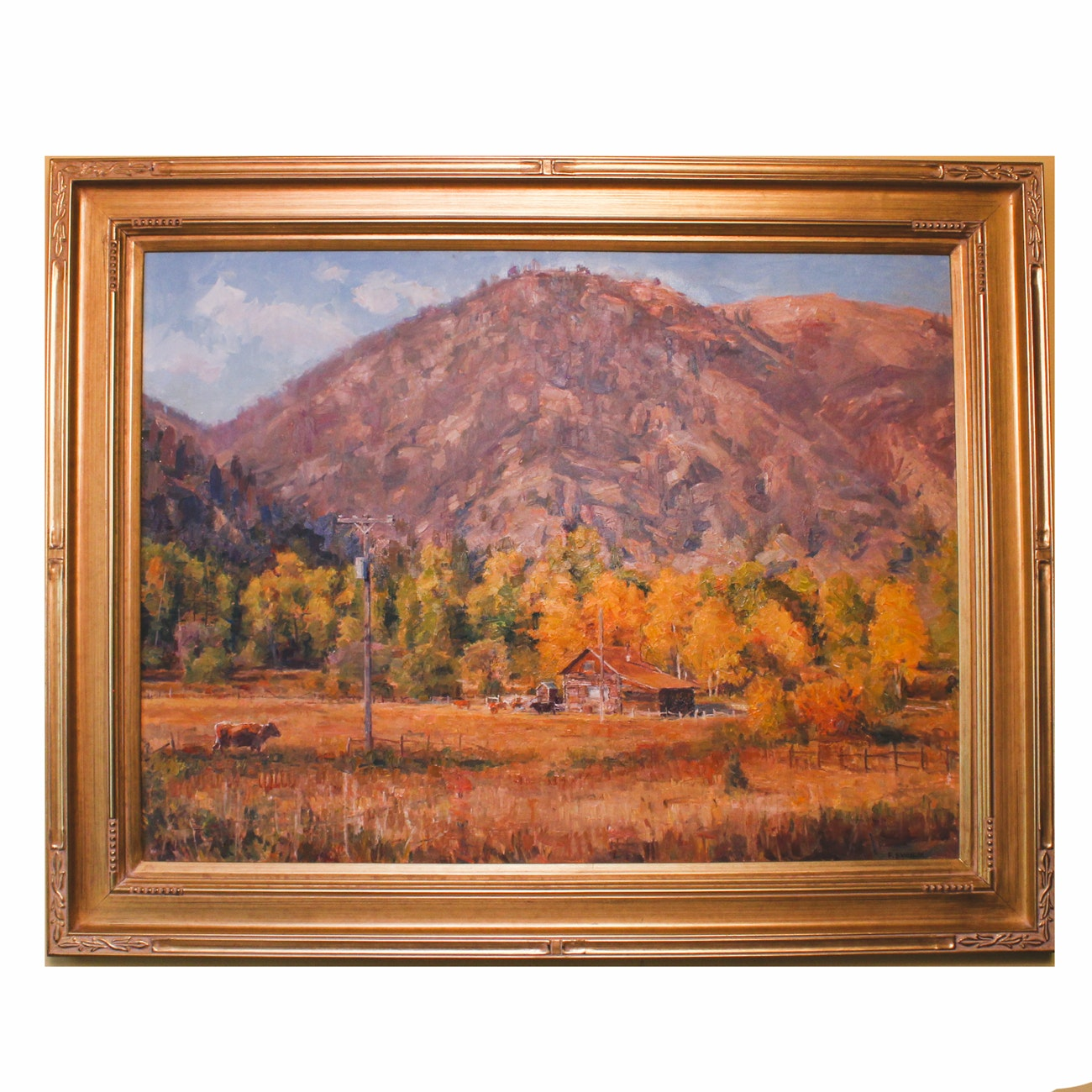 "Francis Switzer Original Landscape Oil Painting ""Autumn Homestead"""
