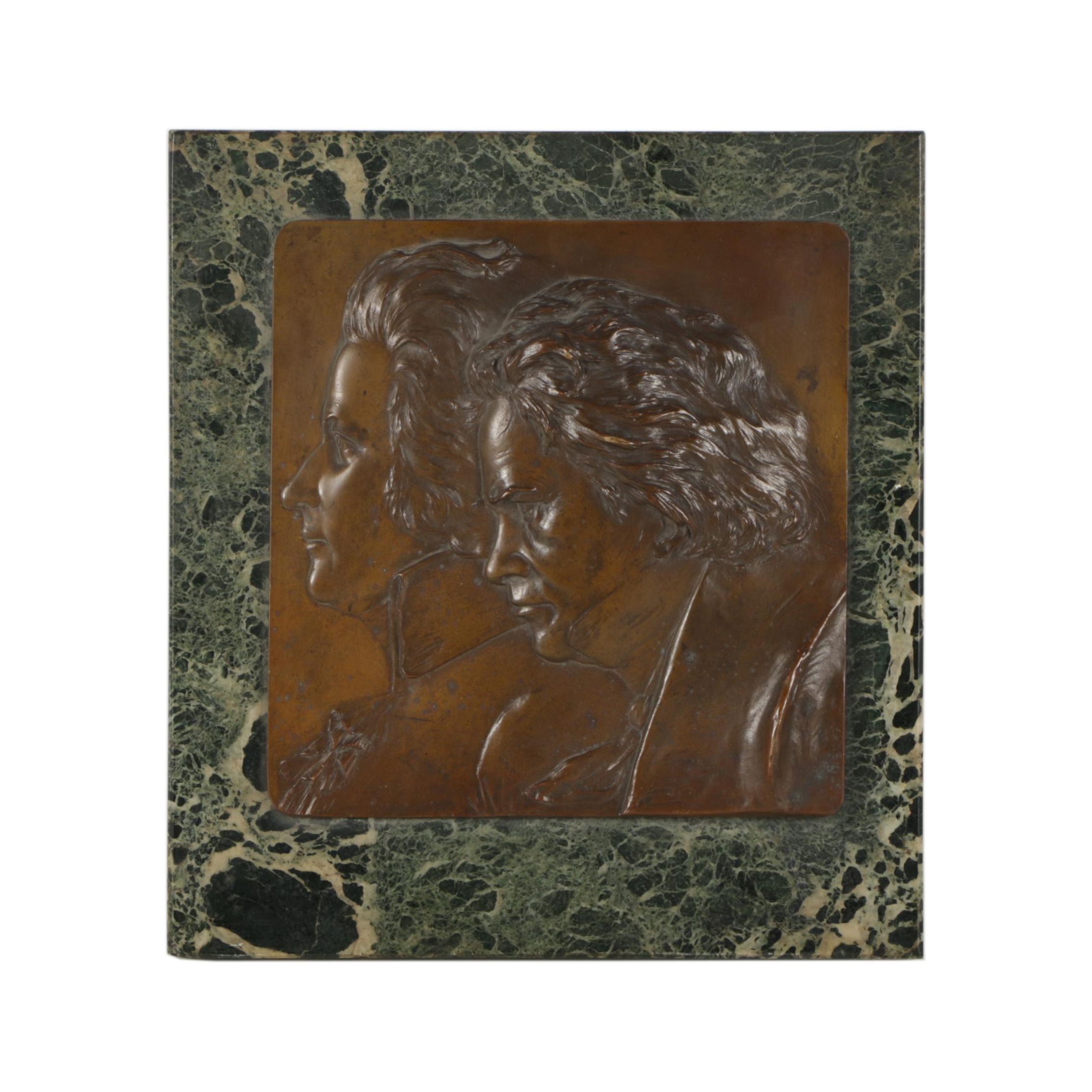 Franz Stiasny Copper Plaque of Mozart and Beethoven