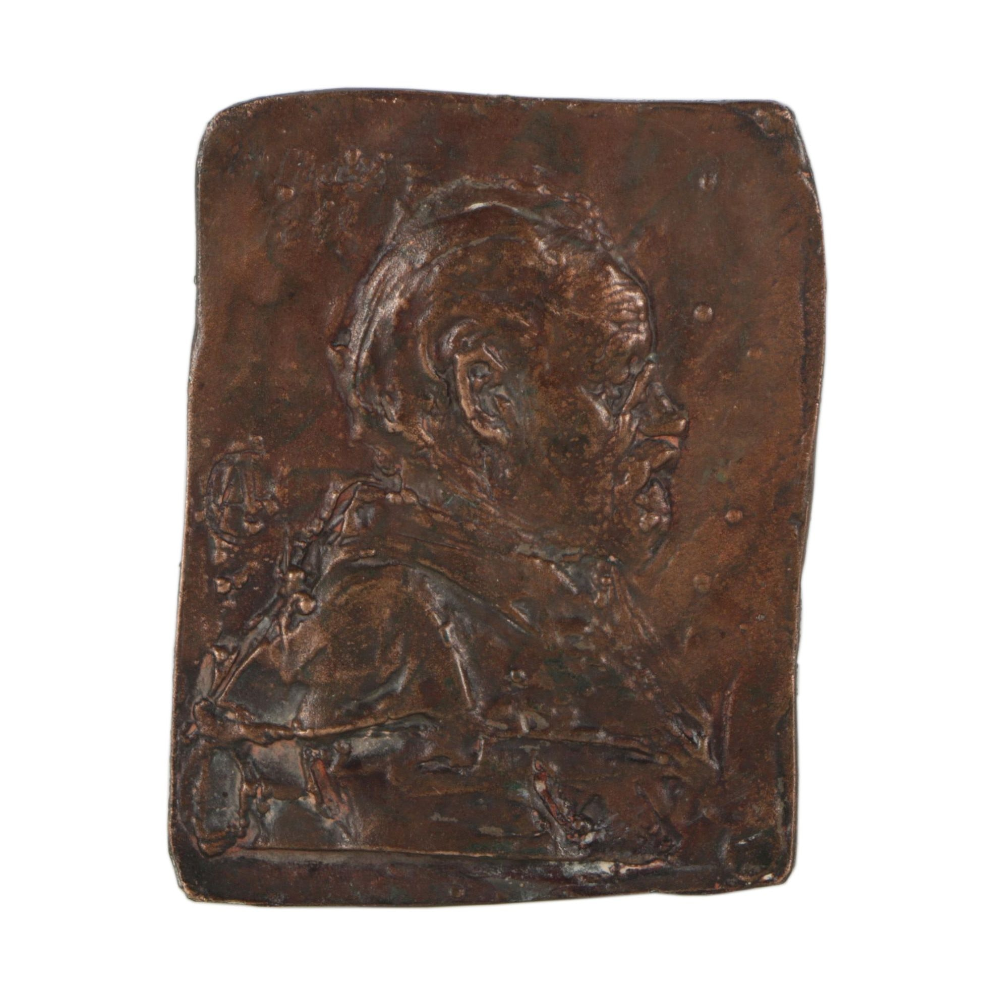 Copper Plaque with Relief Portrait in Side Profile