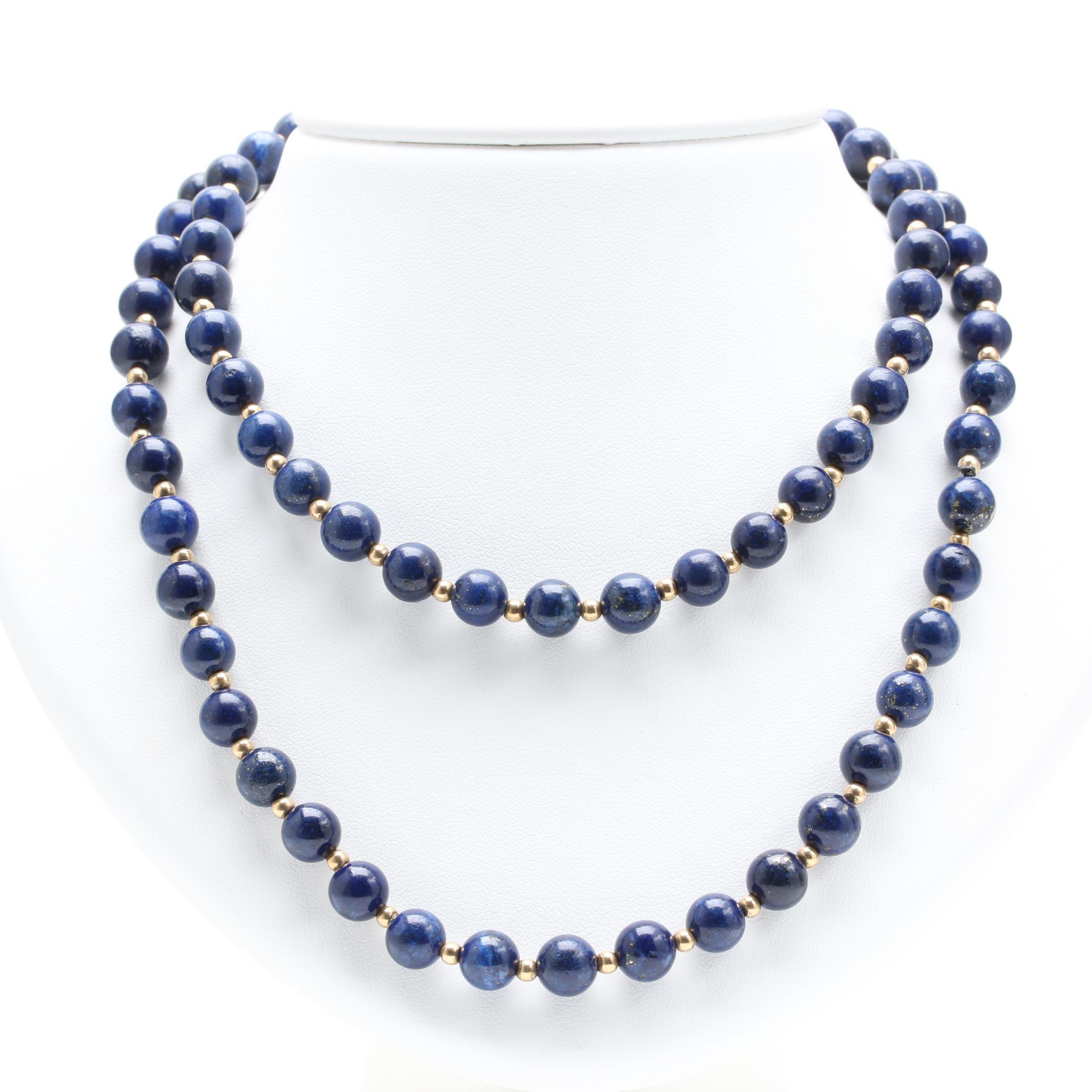 14K Yellow Gold Lapis Lazuli Necklace