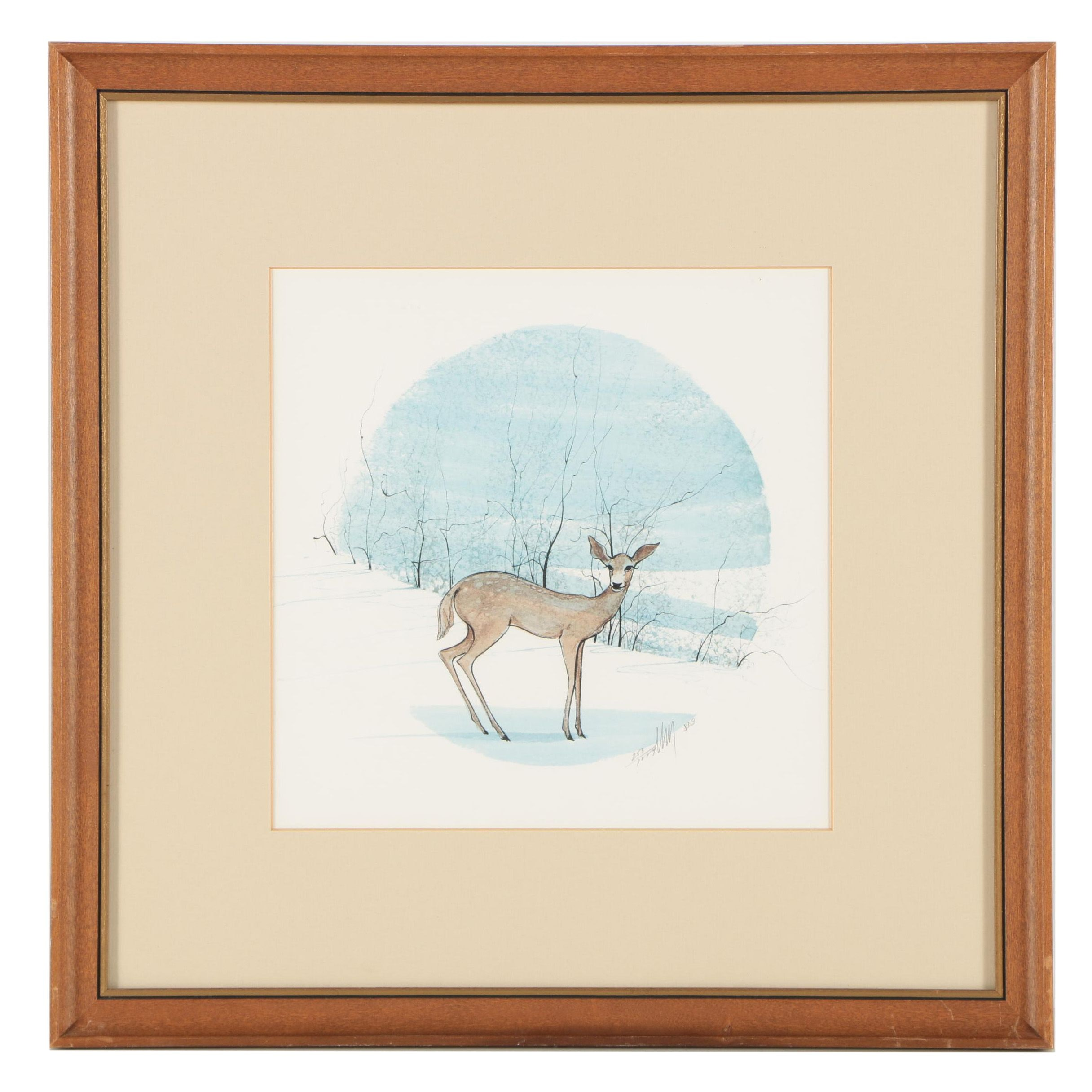 P Buckley Moss Limited Edition Offset Lithograph of a Deer