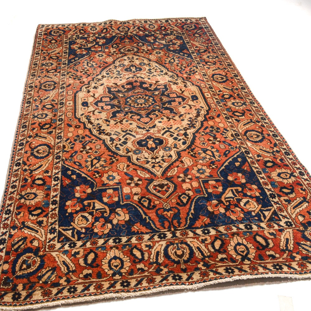 Vintage Hand-Knotted Persian Heriz Rug
