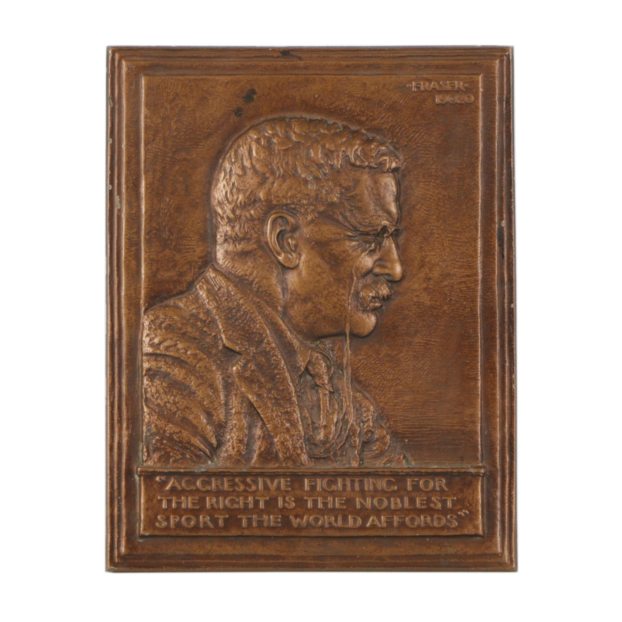 James Earl Frasier Bronze Teddy Roosevelt Wall Plaque