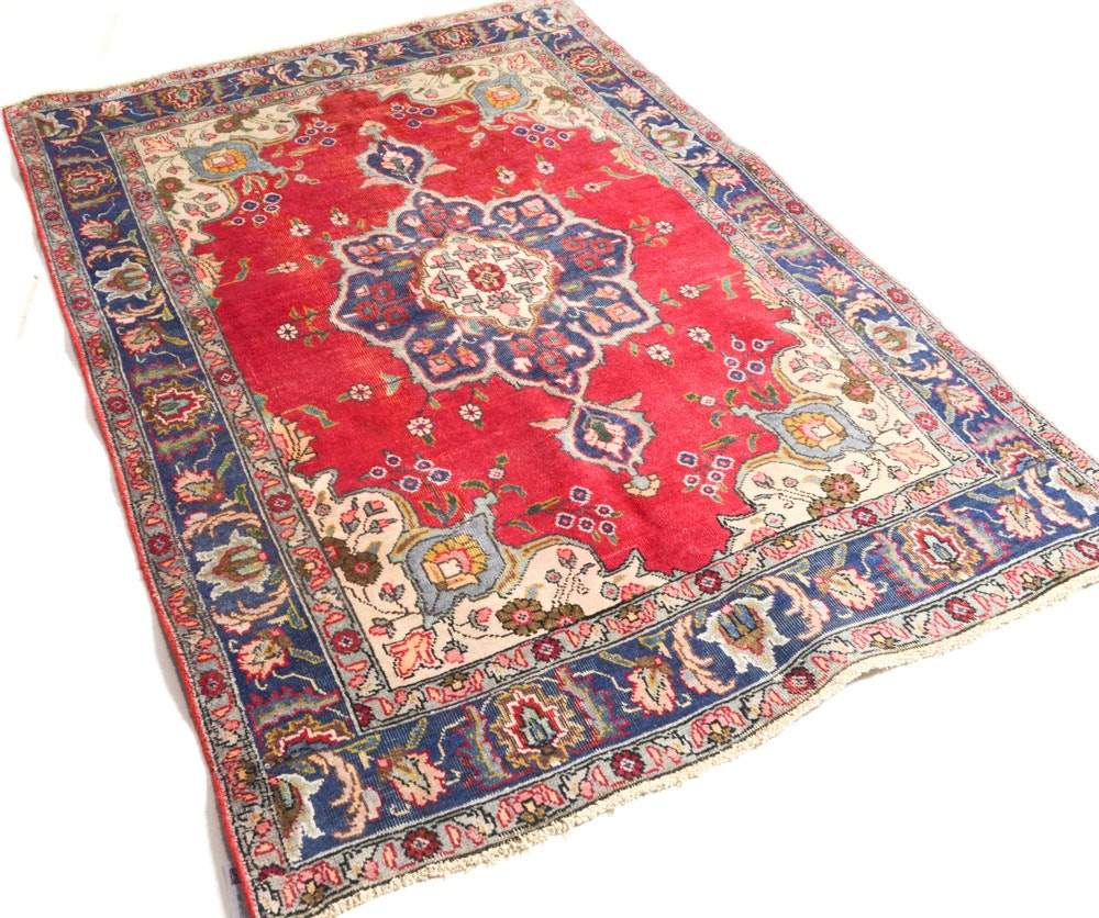 Vintage Hand-Knotted Persian Tabriz Rug