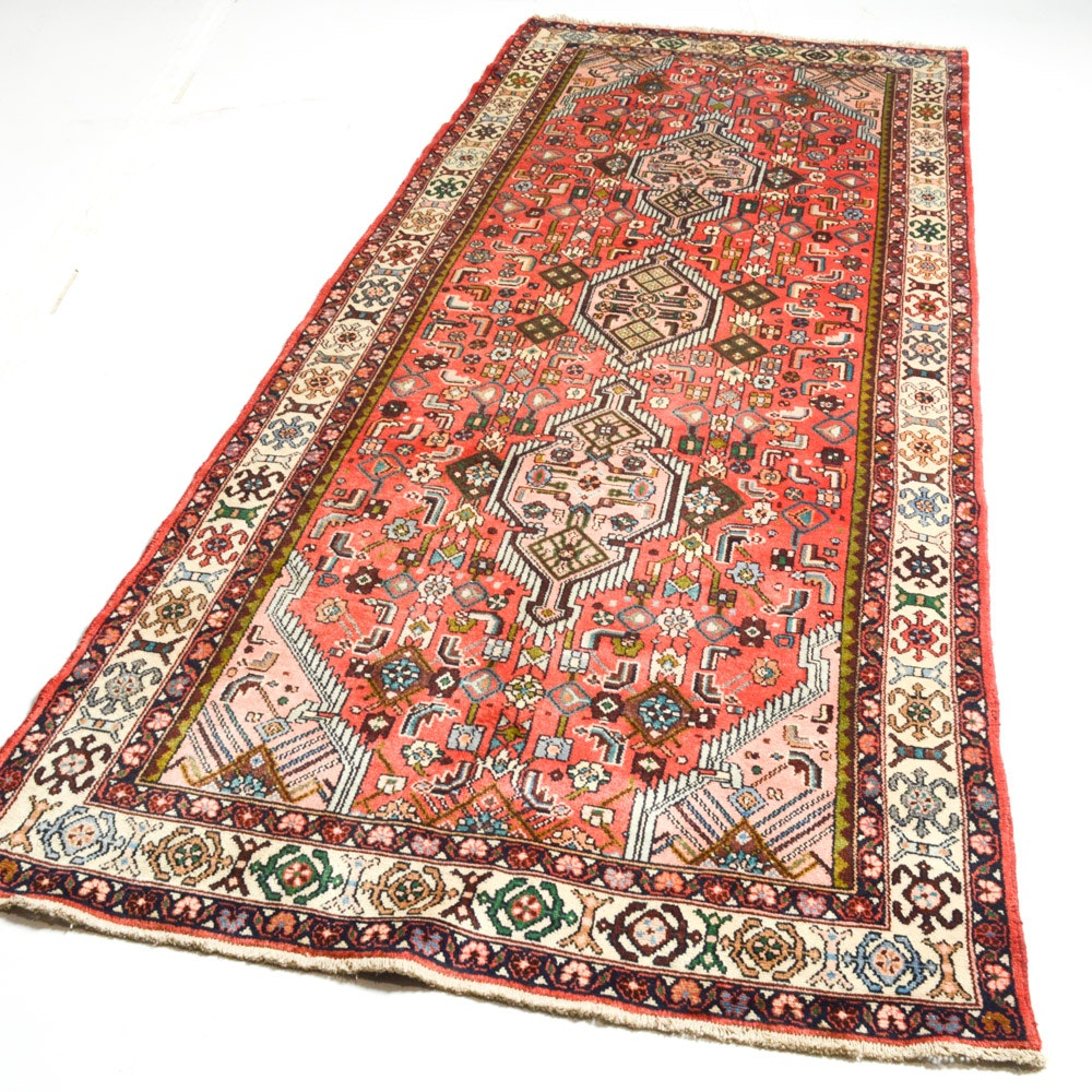 Vintage Hand-Knotted Lamp's Wool Persian Malayer Sarouk Runner